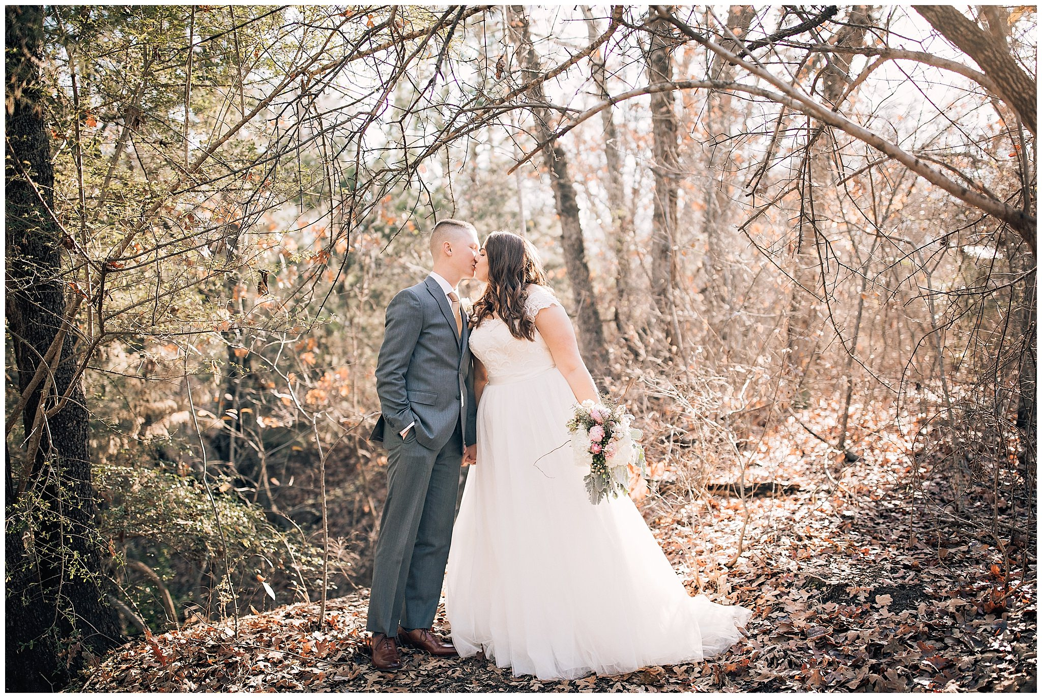 Bride and Groom kissing at their Texas countryside wedding