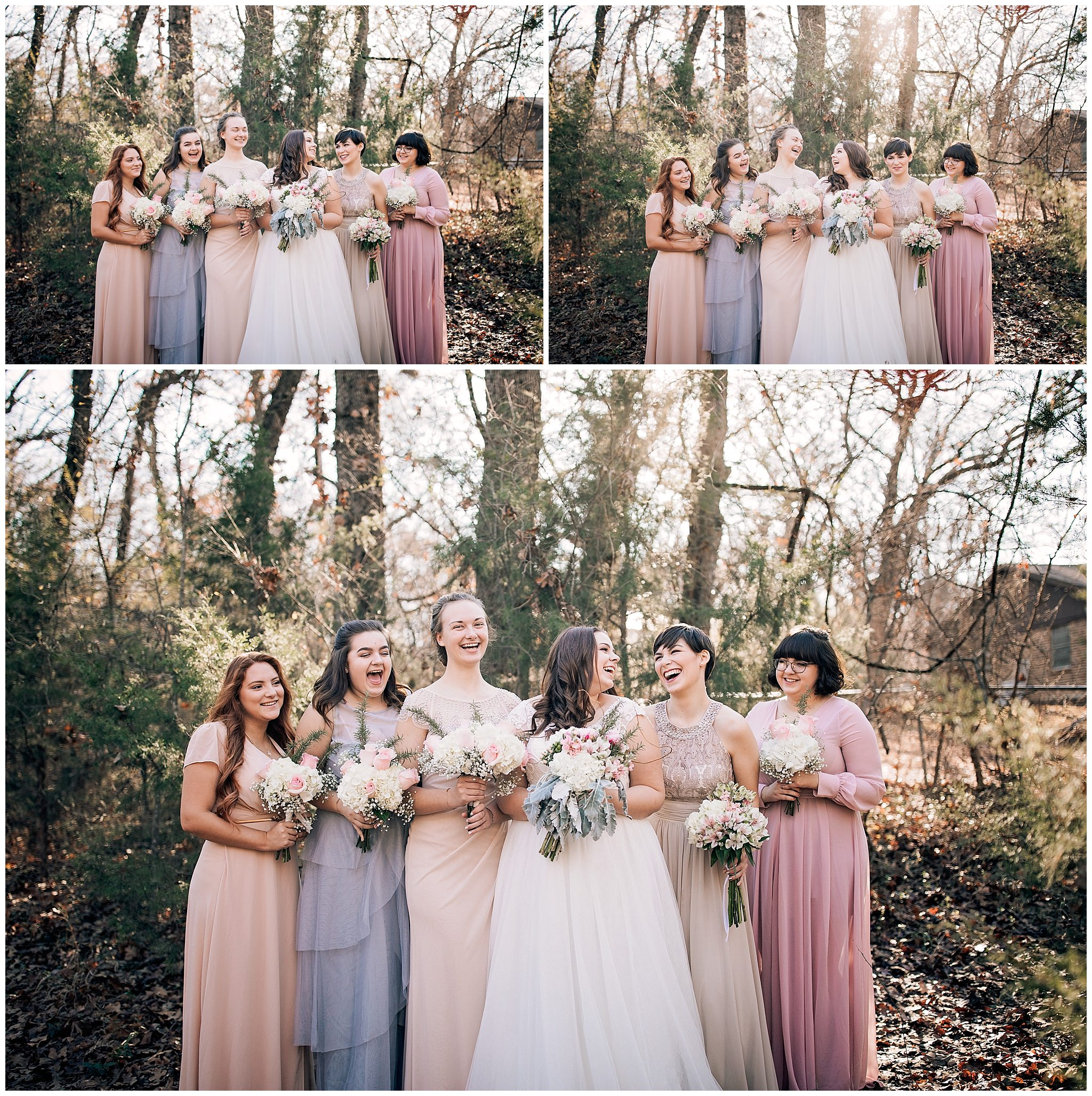 Bridesmaids wearing mix-matched dresses at Texas Wedding