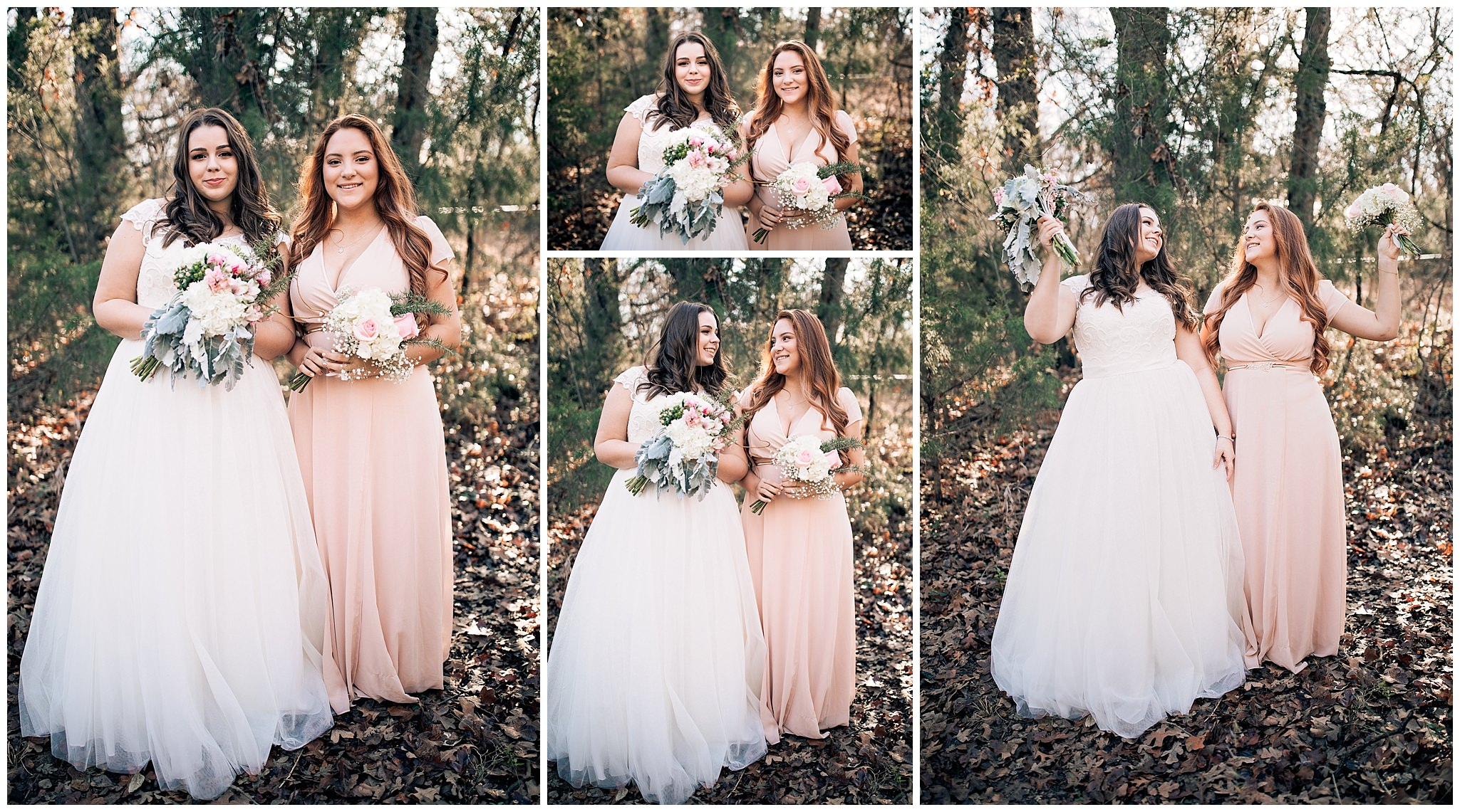 Bride with her bridesmaids who are wearing pink