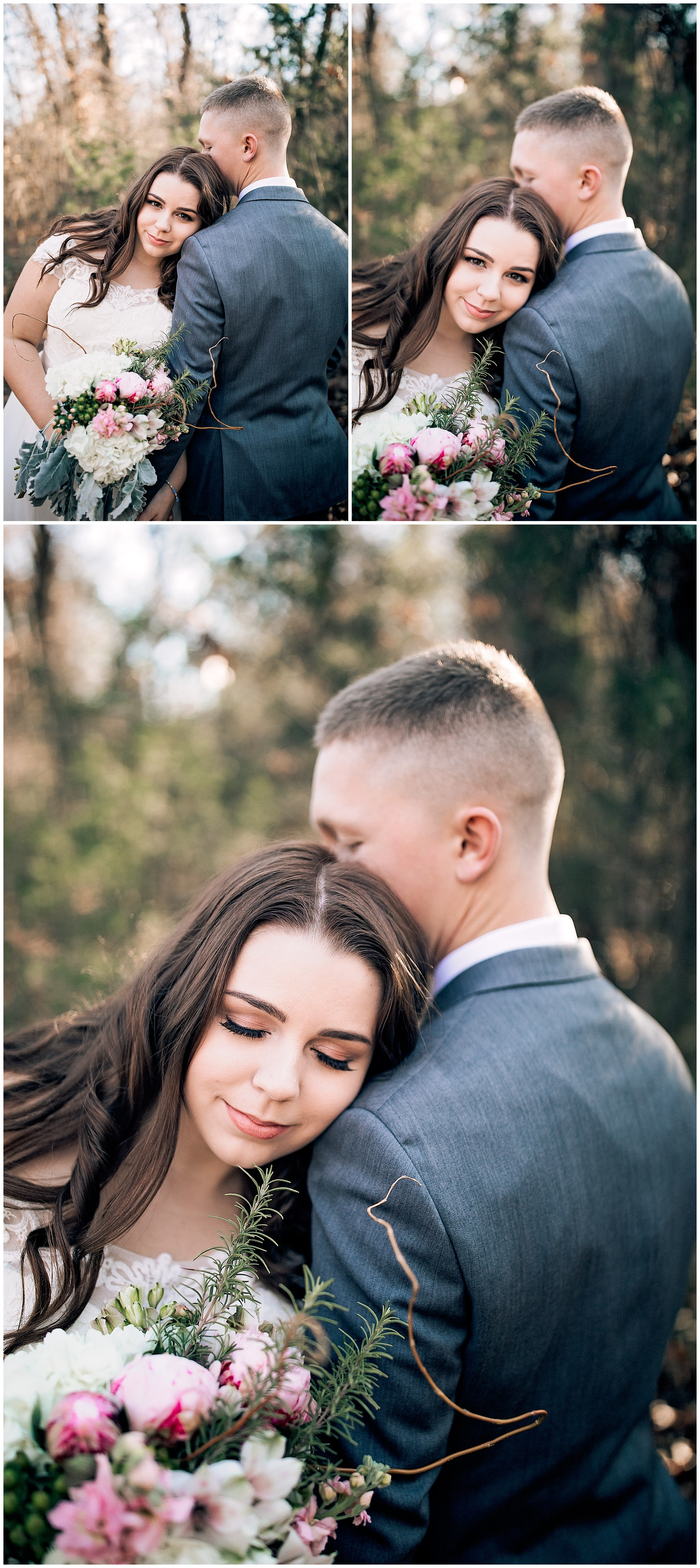 Bride and Groom snuggling for their Wedding photos