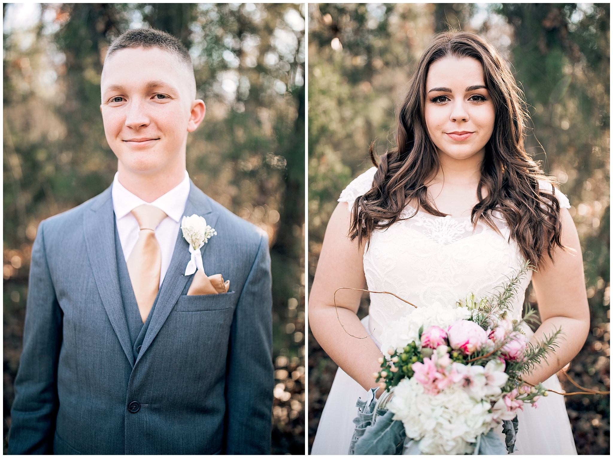 Bride and Groom smiling at the camera for their wedding pictures