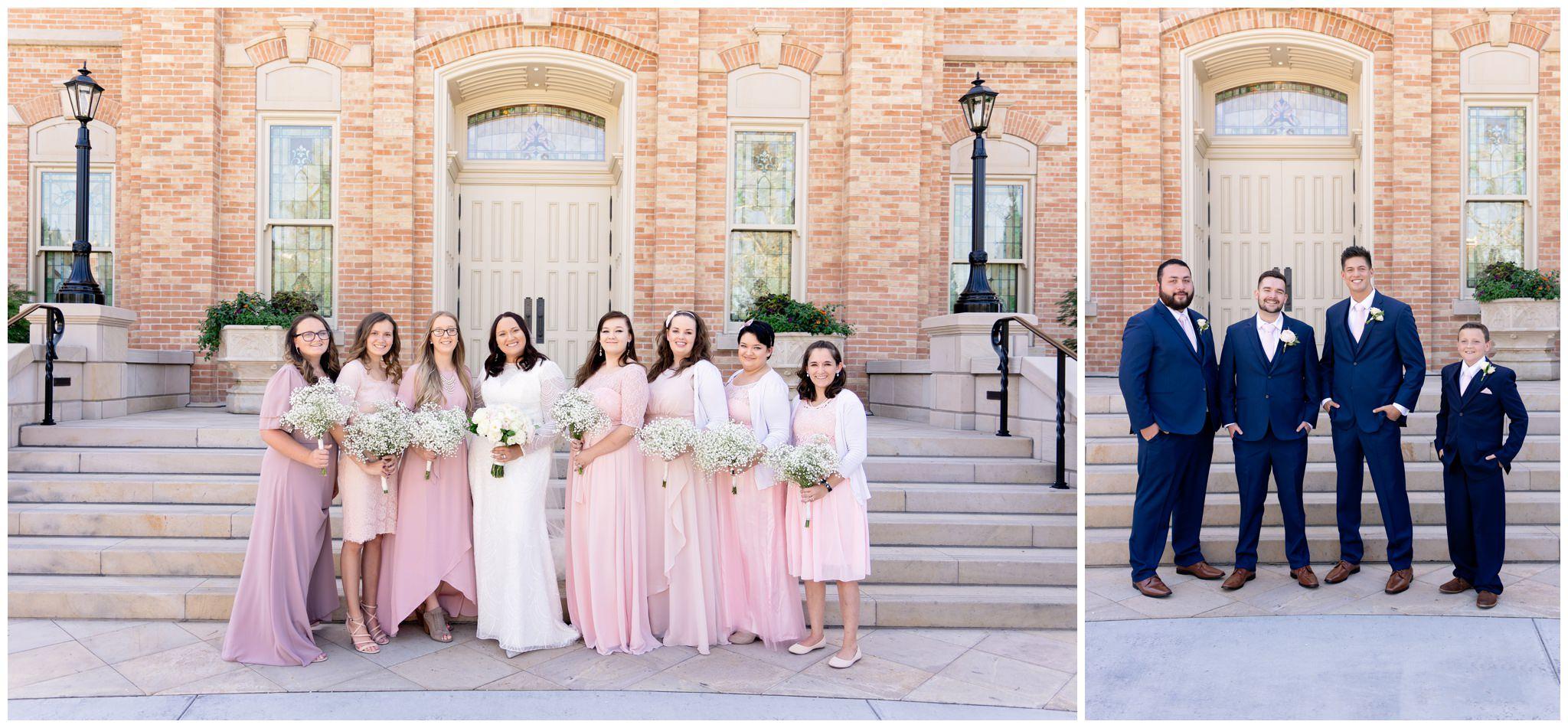 Bridesmaids and Groomsmen at wedding in Utah Valley