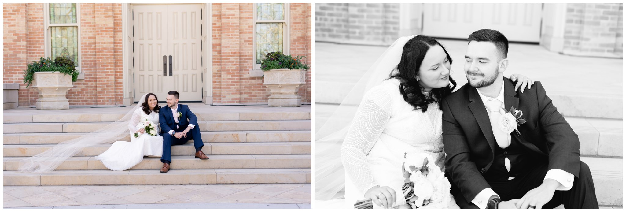 Bride and Groom sitting on stairs at the lds temple