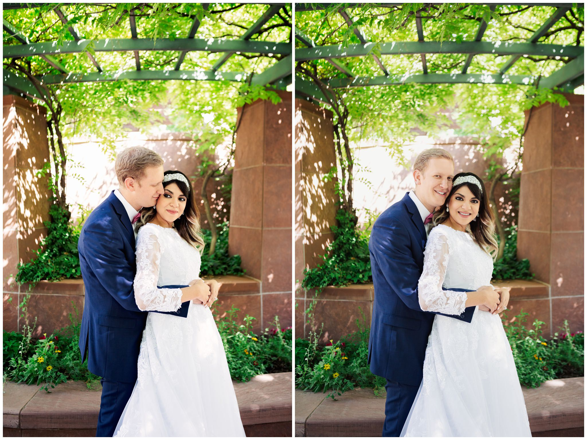 Groom kissing bride at the SLC Temple