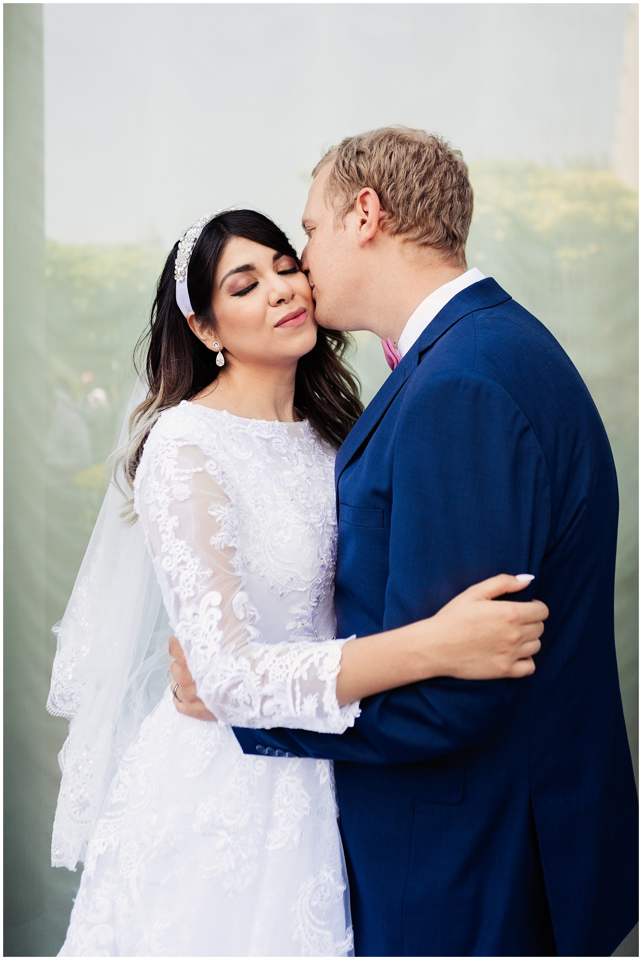 SLC Temple wedding Bride and Groom