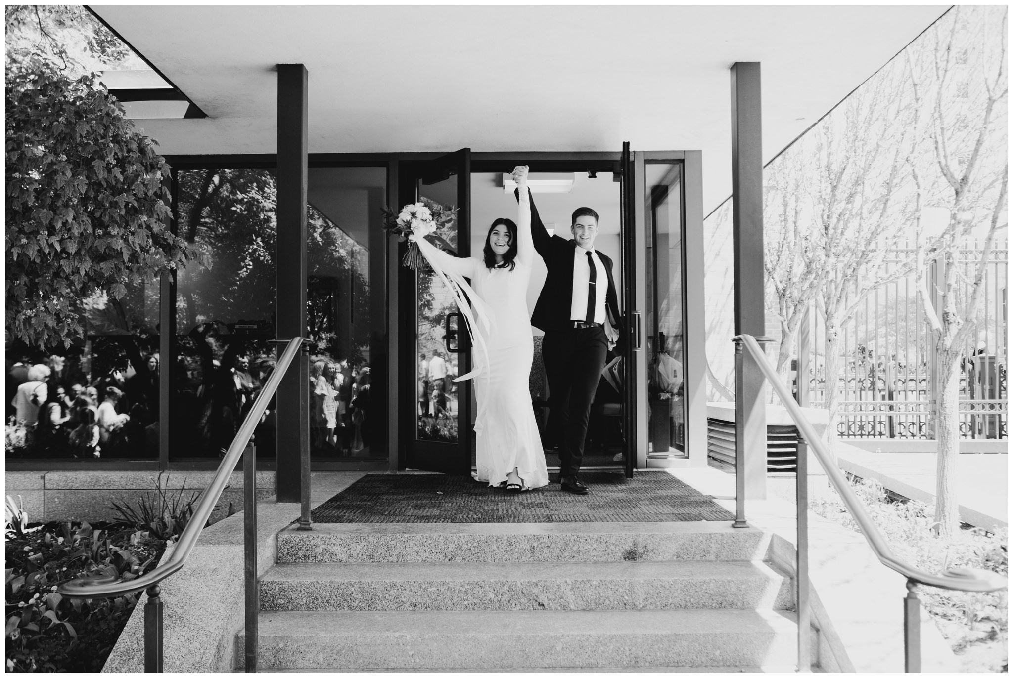 Bride and Groom exiting the Salt Lake City Temple