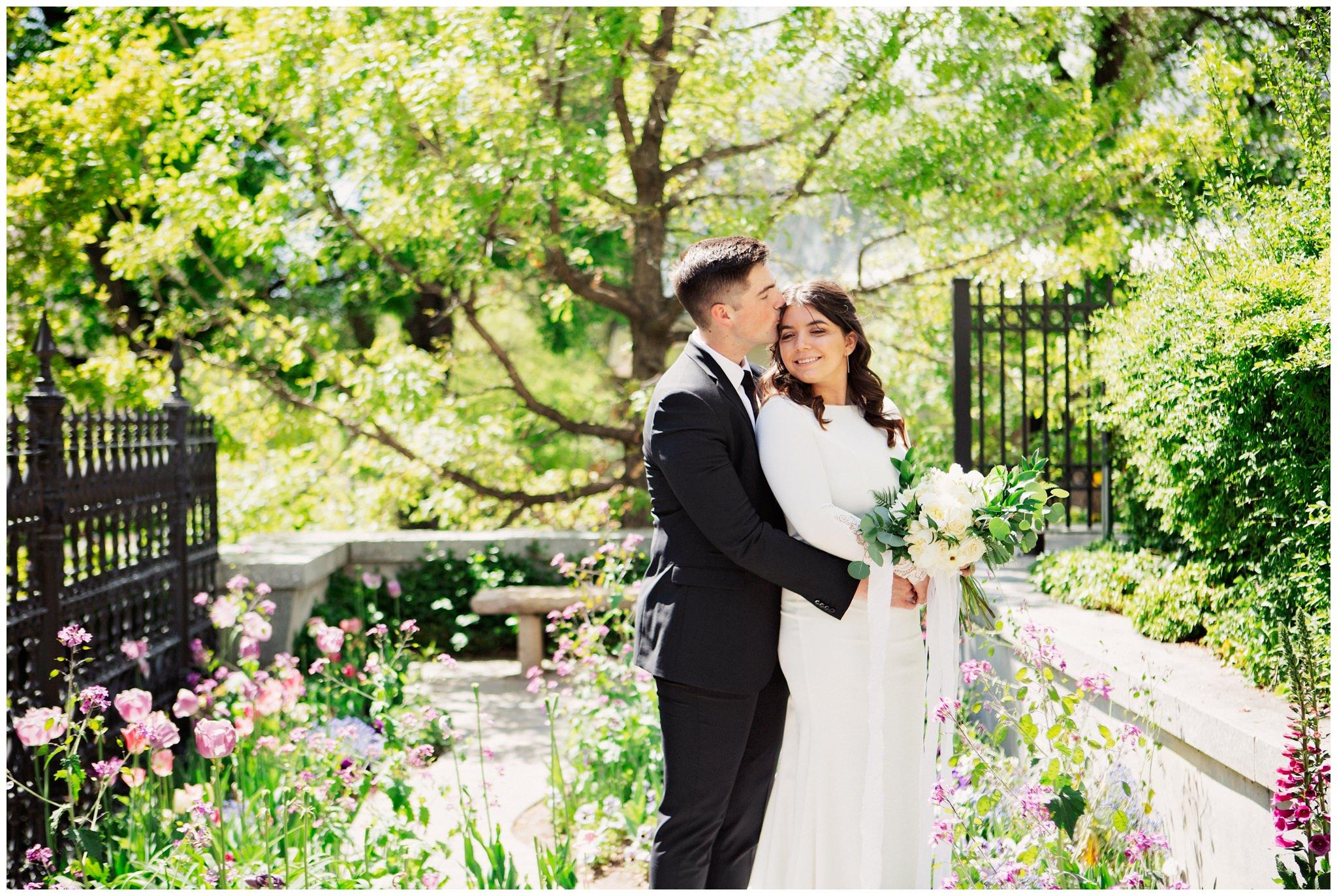 Temple Wedding photos near the flowers