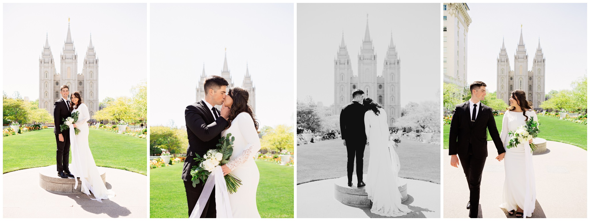 Bride and Groom in front of the Salt Lake City Temple Lds couple