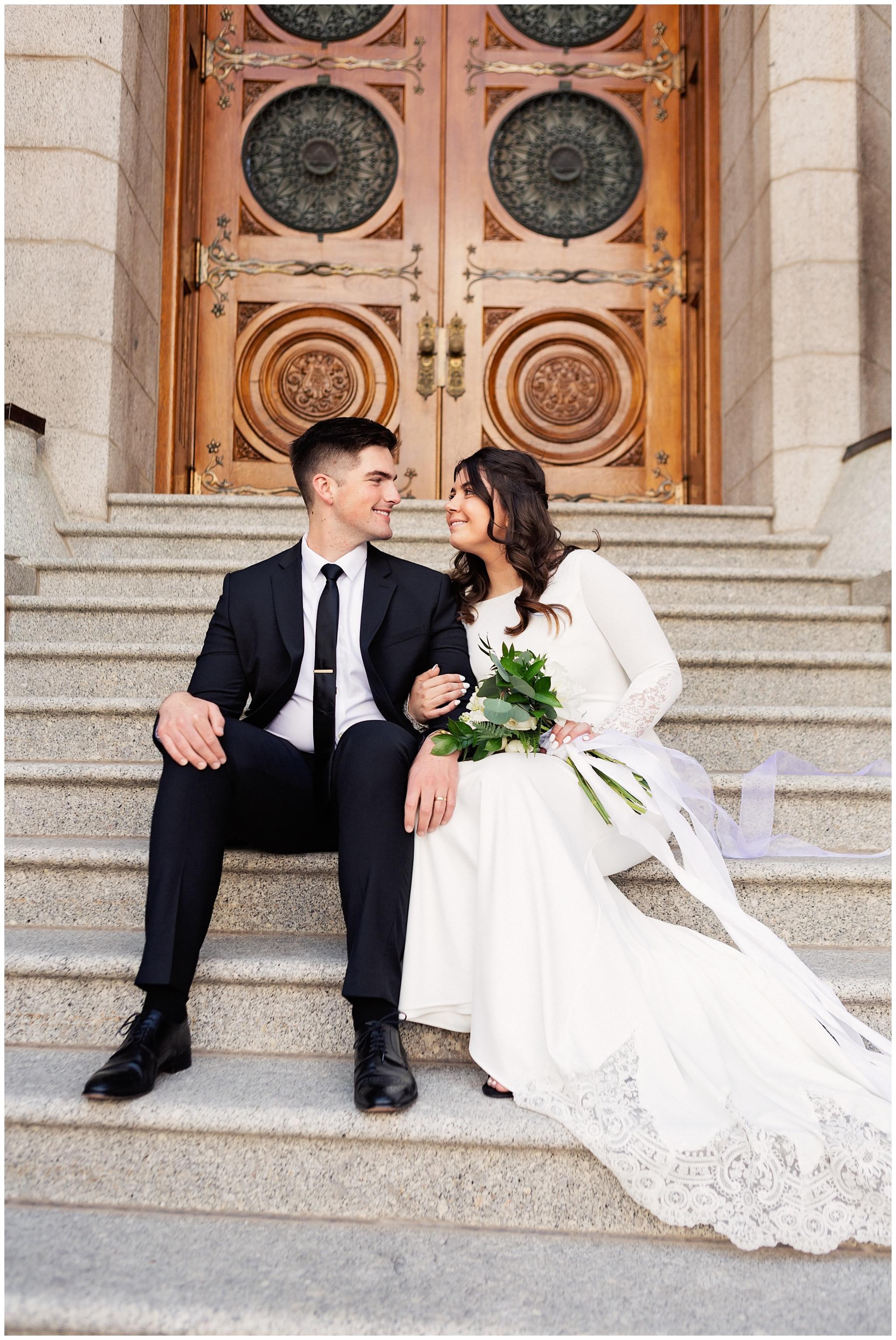 Bride and Groom at Salt Lake City Temple