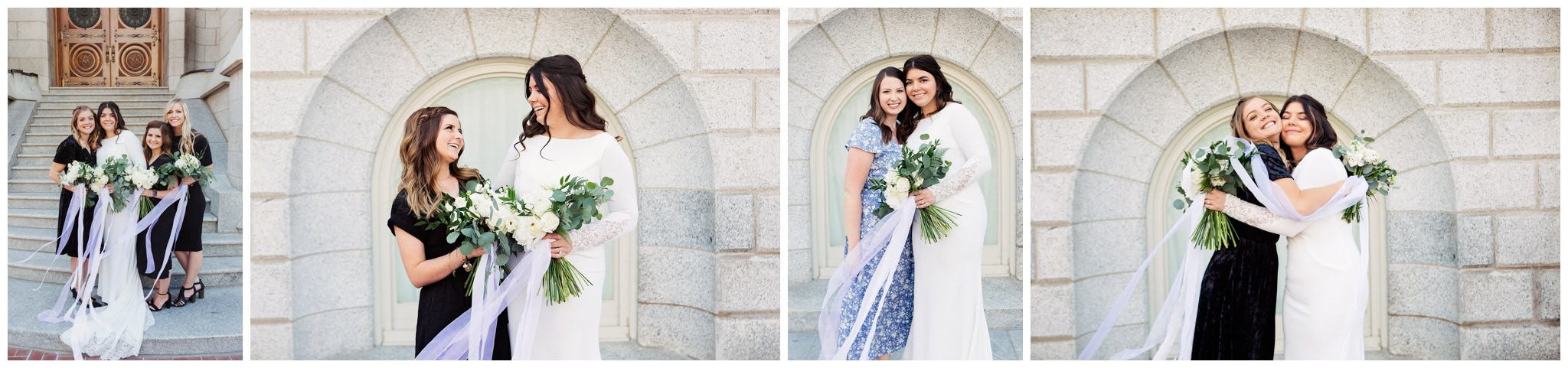 Wedding party pictures at the Salt Lake City Temple in Utah