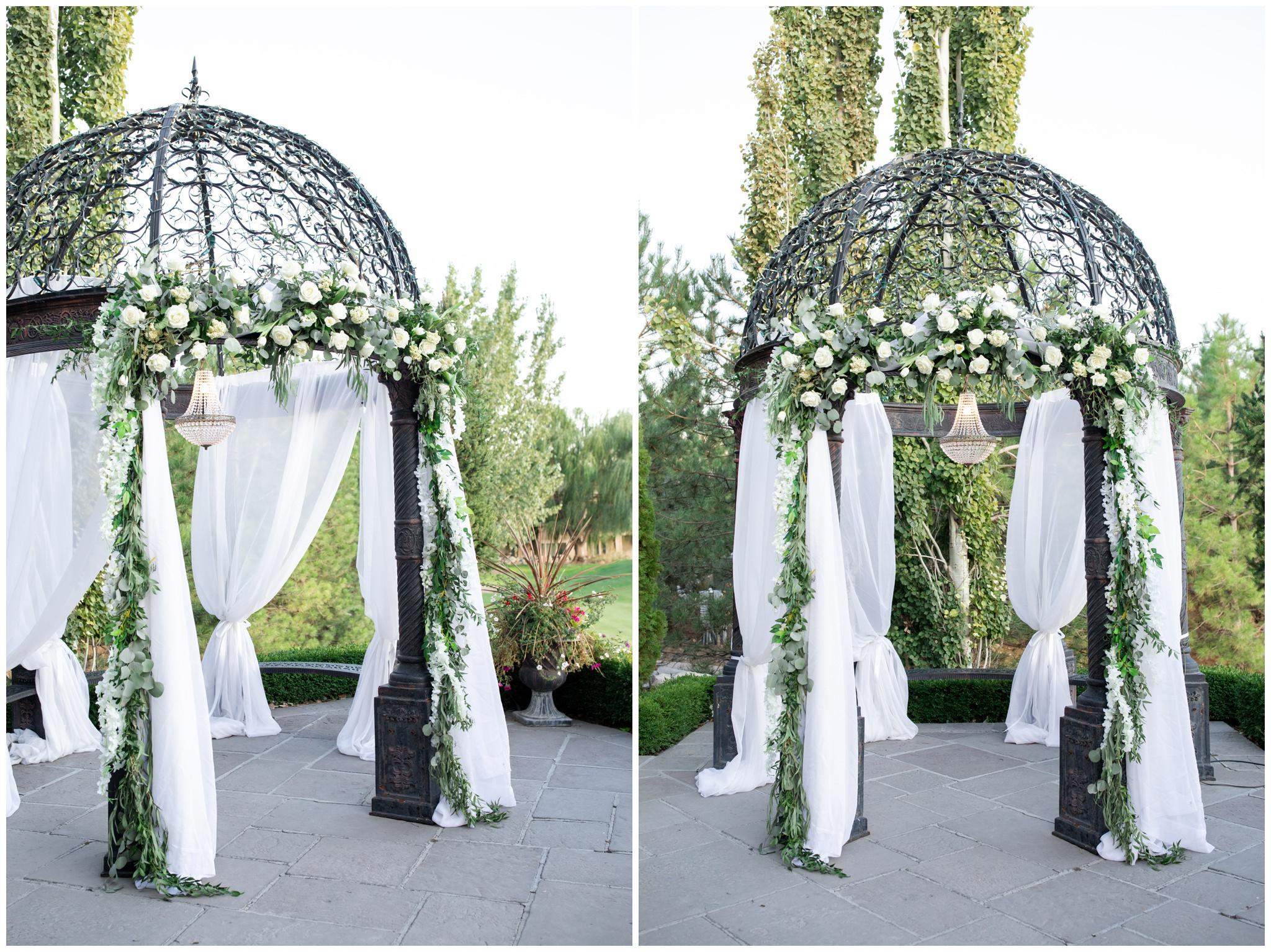 Gazebo floral arrangement by Nanette York Floral