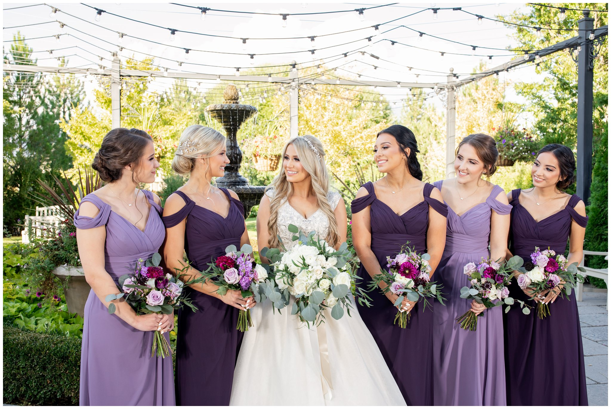 Wedding party pictures at utah wedding venue