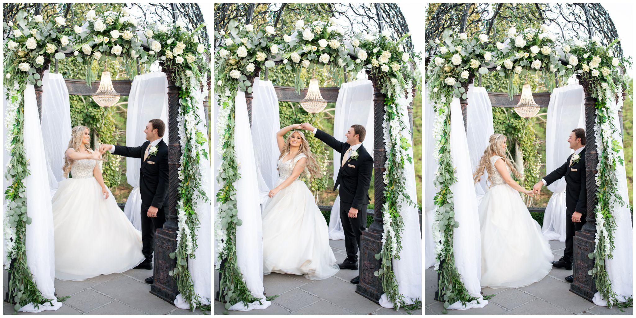 Bride and groom twirling under the gazebo at sleepy ridge