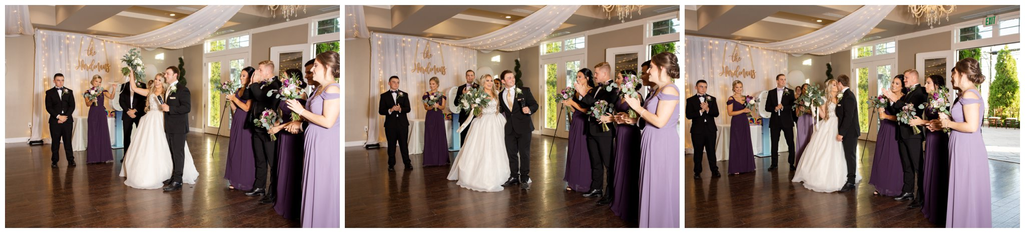 Bride and groom greeting guest at venue