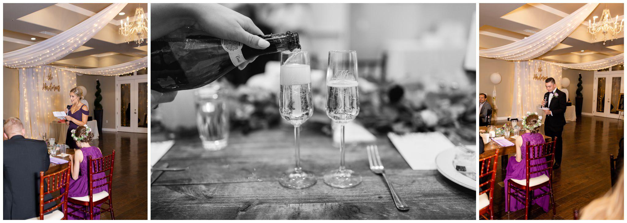 Wedding toast at wedding venue in utah