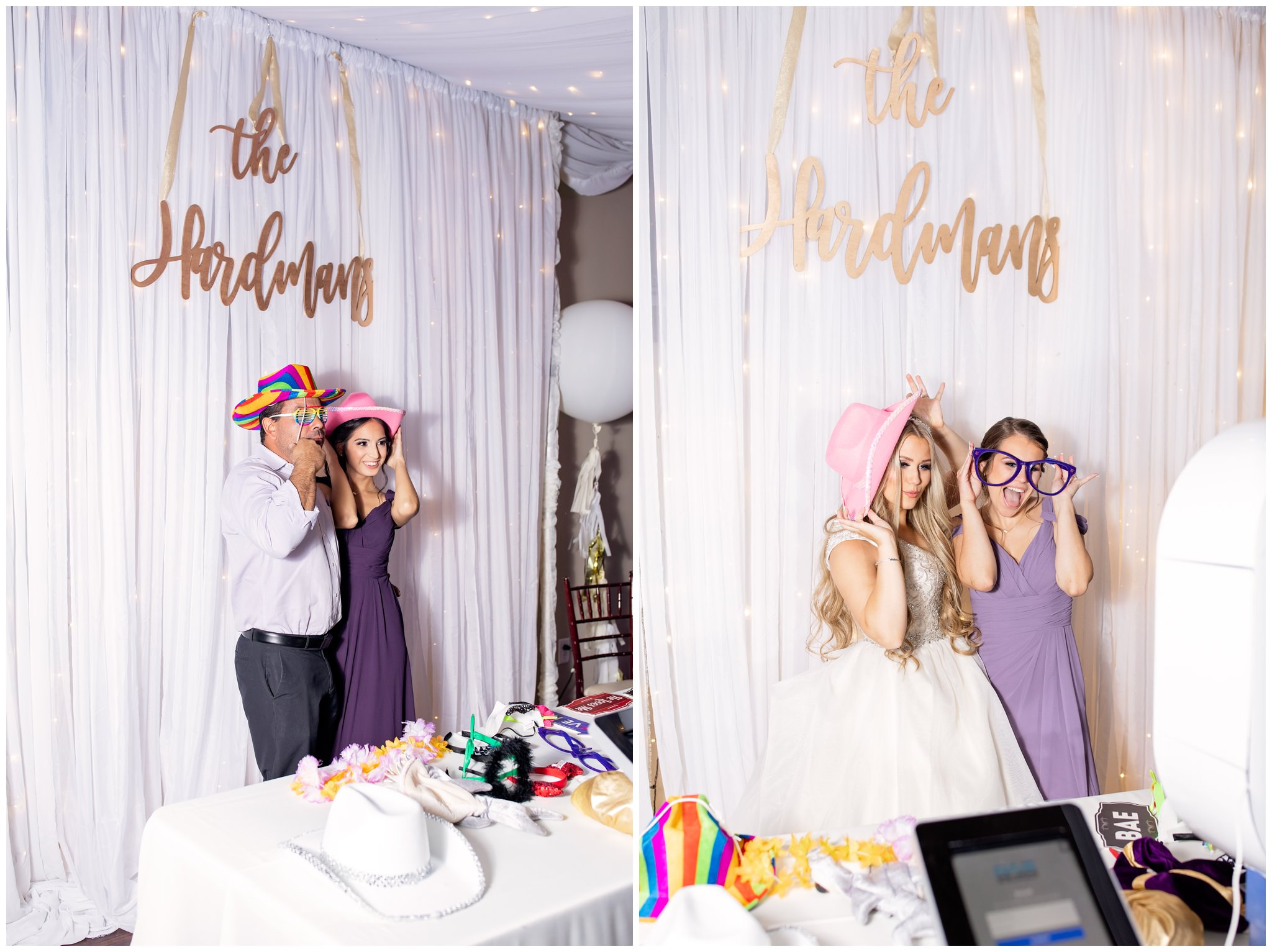 Photo booth pictures of bride and groom one above entertainment