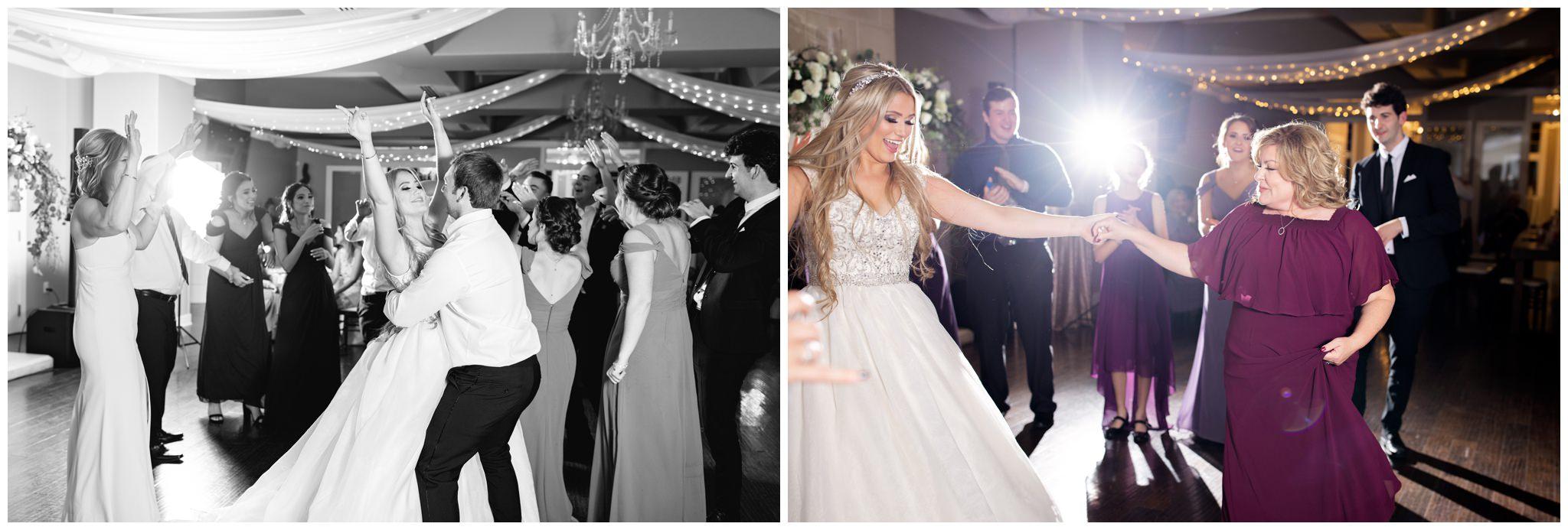 Wedding guest dancing with bride and groom at Utah wedding