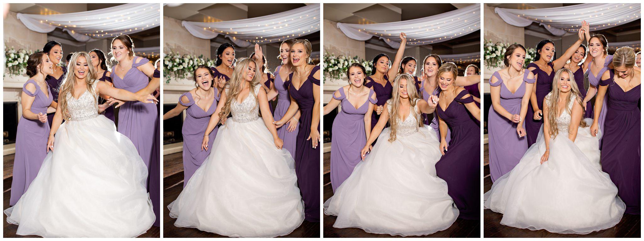 Bridesmaids dancing at wedding