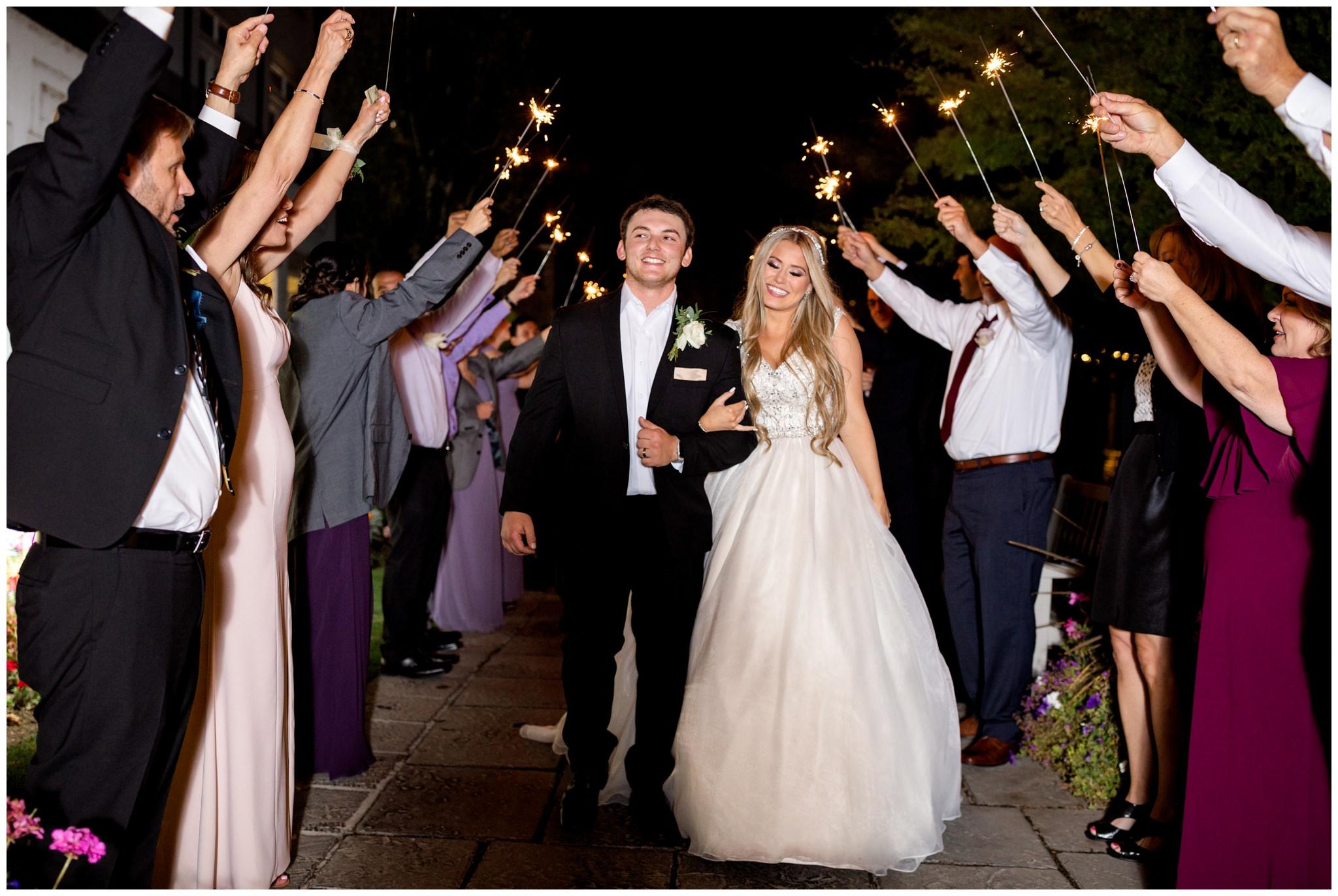 Sparkler Exit at wedding venue in Utah