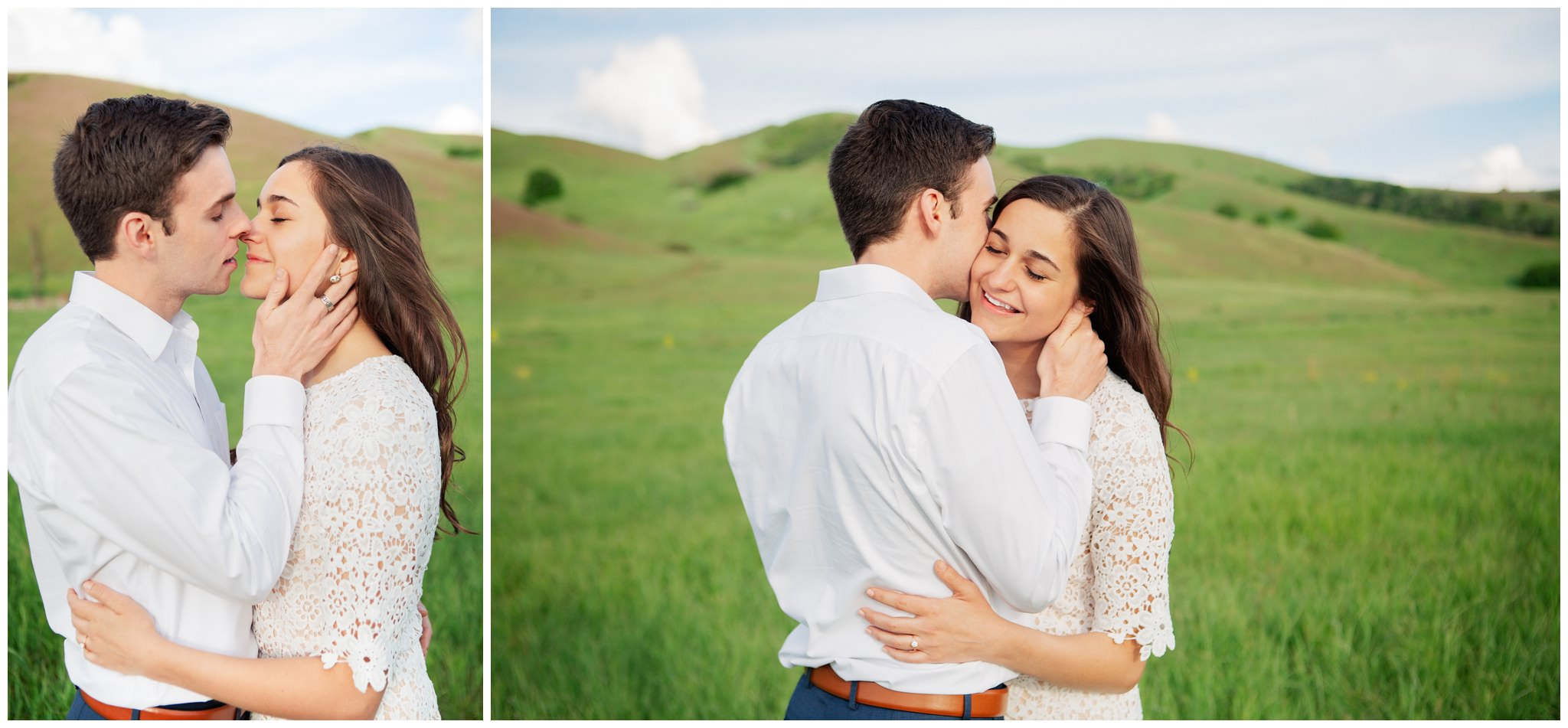 Couple kissing at Tunnel springs for their engagement photos