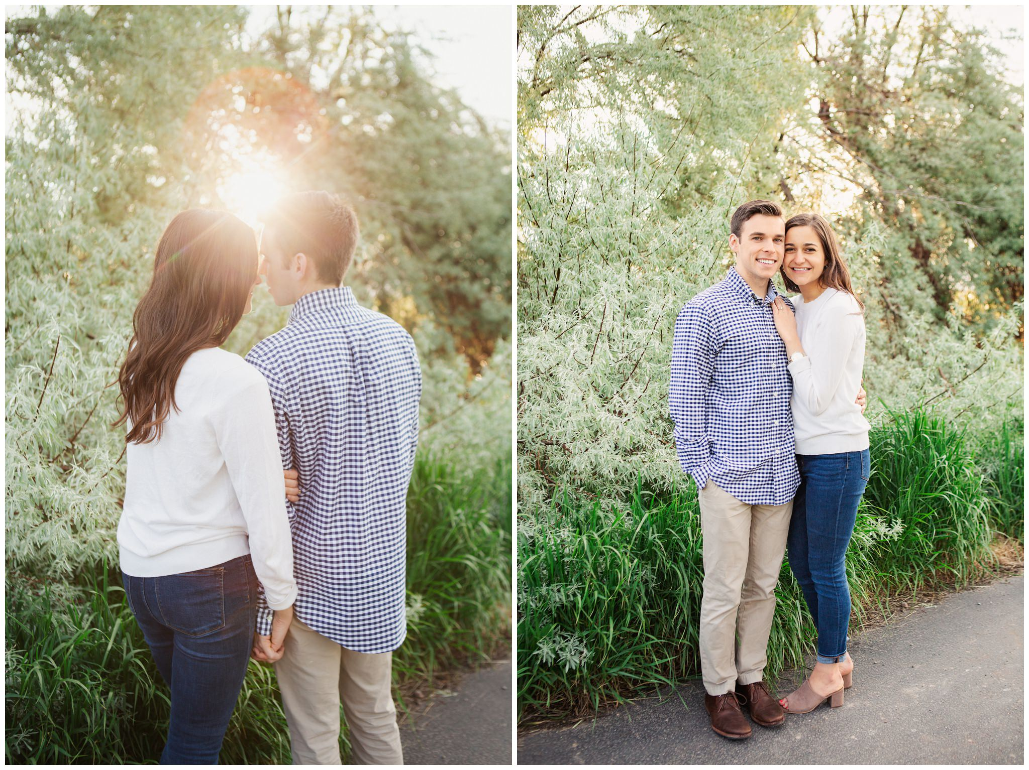 Engagement photos with the groom wearing a blue shirt and the bride wearing a white shirt