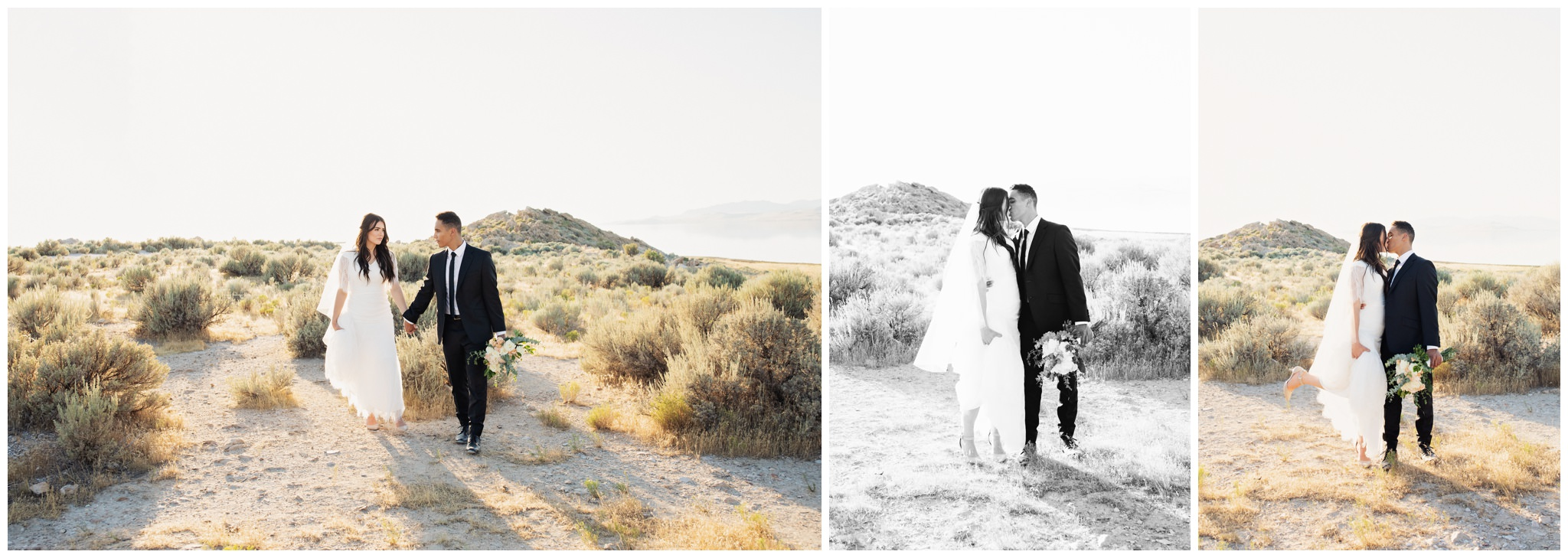 Heel pop kiss. Bride and groom kissing on their wedding day. Bride and groom portraits. Creative poses at Antelope Island