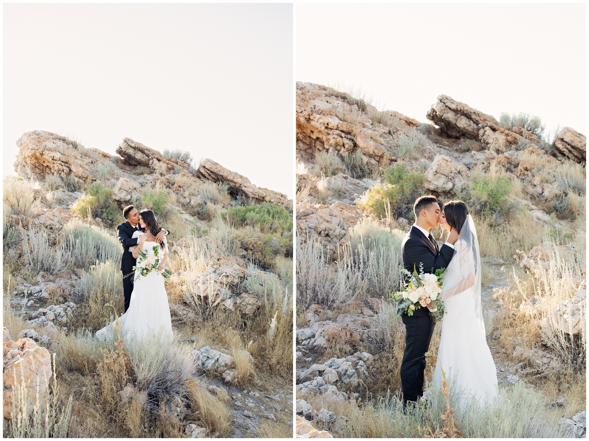 Bride and groom pictures of them kissing near rocks at Antelope Island