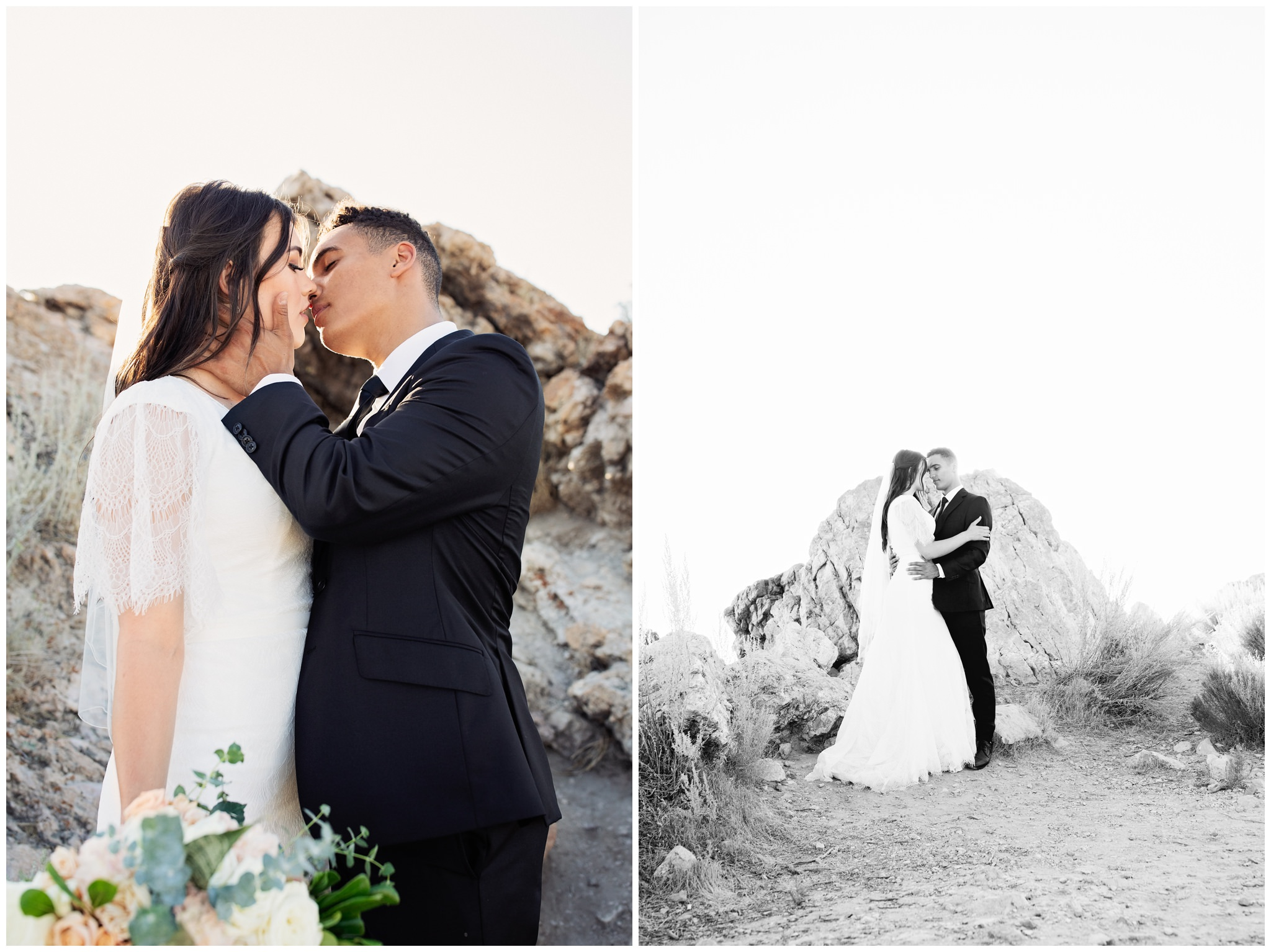 Bride and groom pictures at Ladyfinger Point at Antelope Island, Utah.