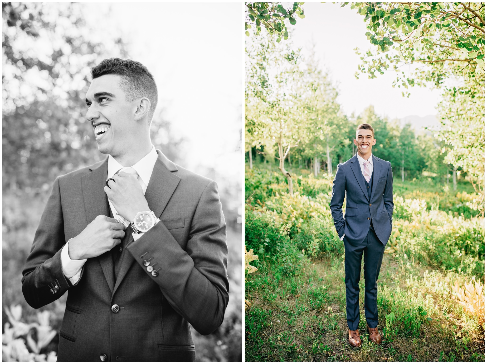 Groom portraits and pictures in the mountains near trees