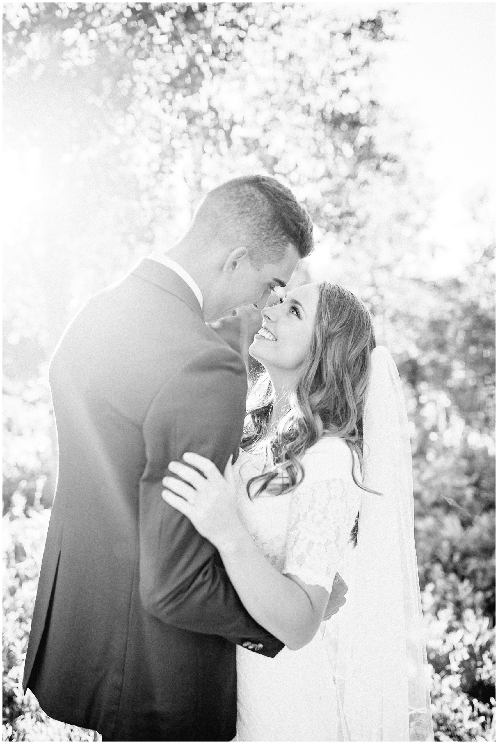 Eskimo kisses in the mountains for their aspen tree bridals