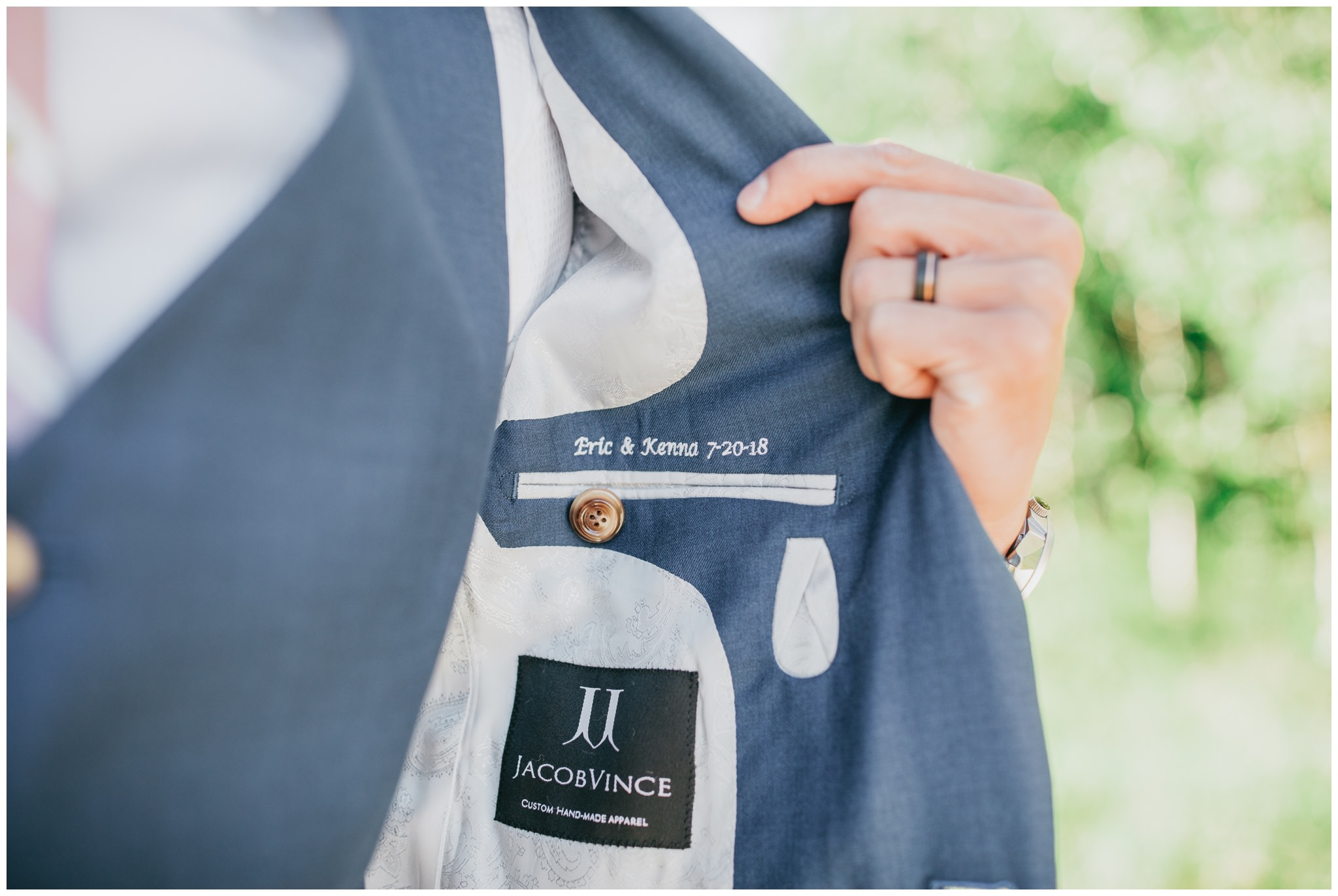 Tux embroidery wedding photography