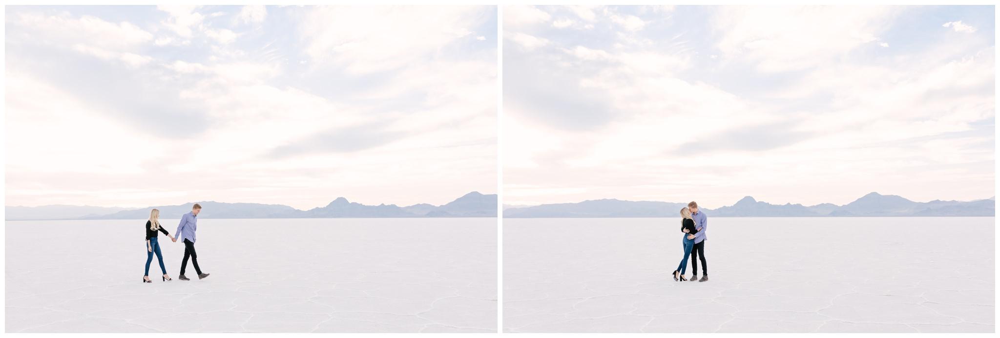 Modern Engagement session at Bonneville Salt Flats Utah