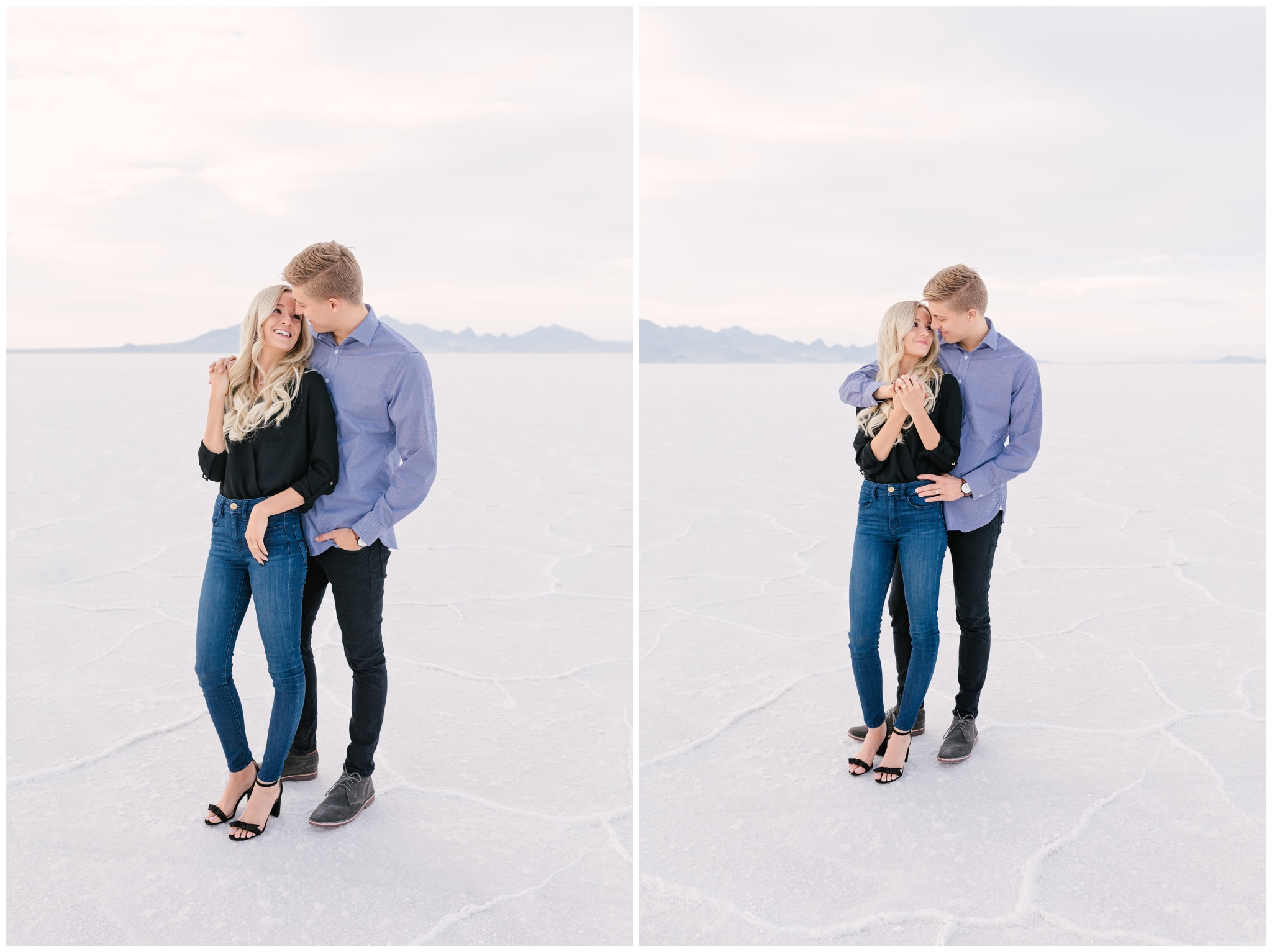 Cute couple posing at Bonneville Salt Flats