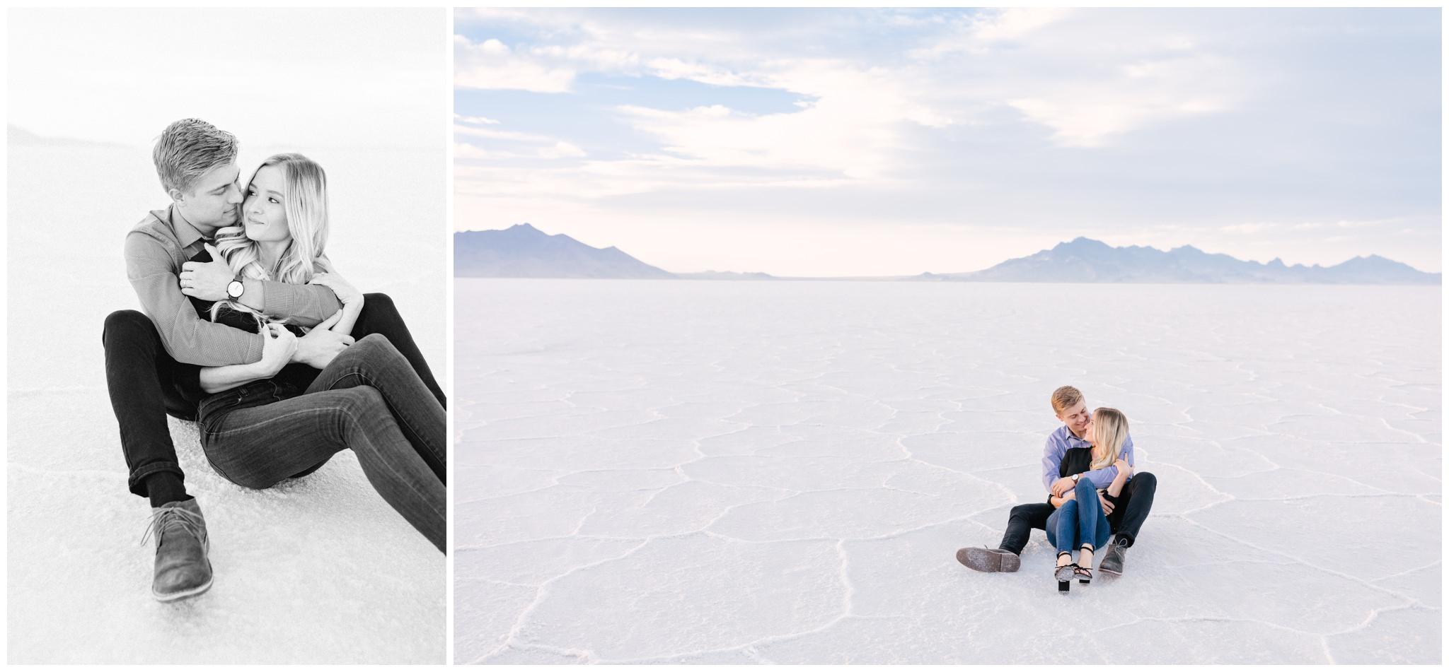 Adorable couple at Bonneville Salt Flats