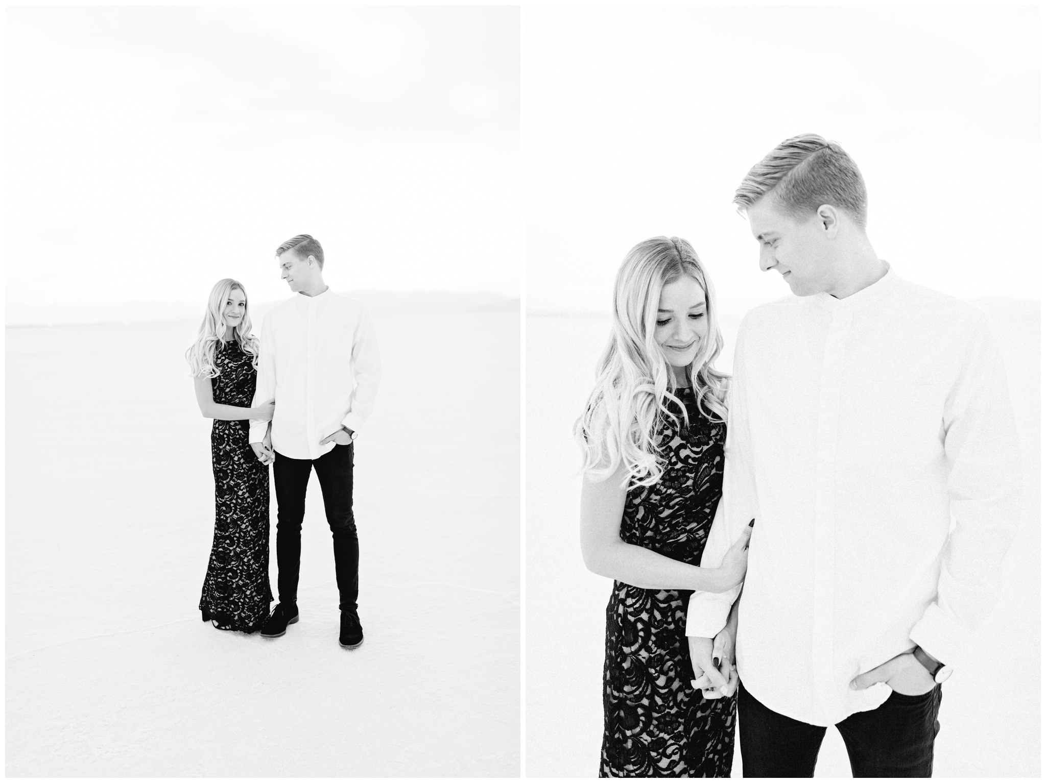 Black and white engagement outfits