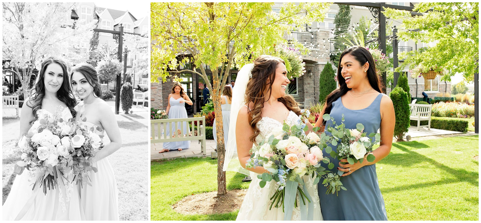 Bride and her best friends at wedding in Utah