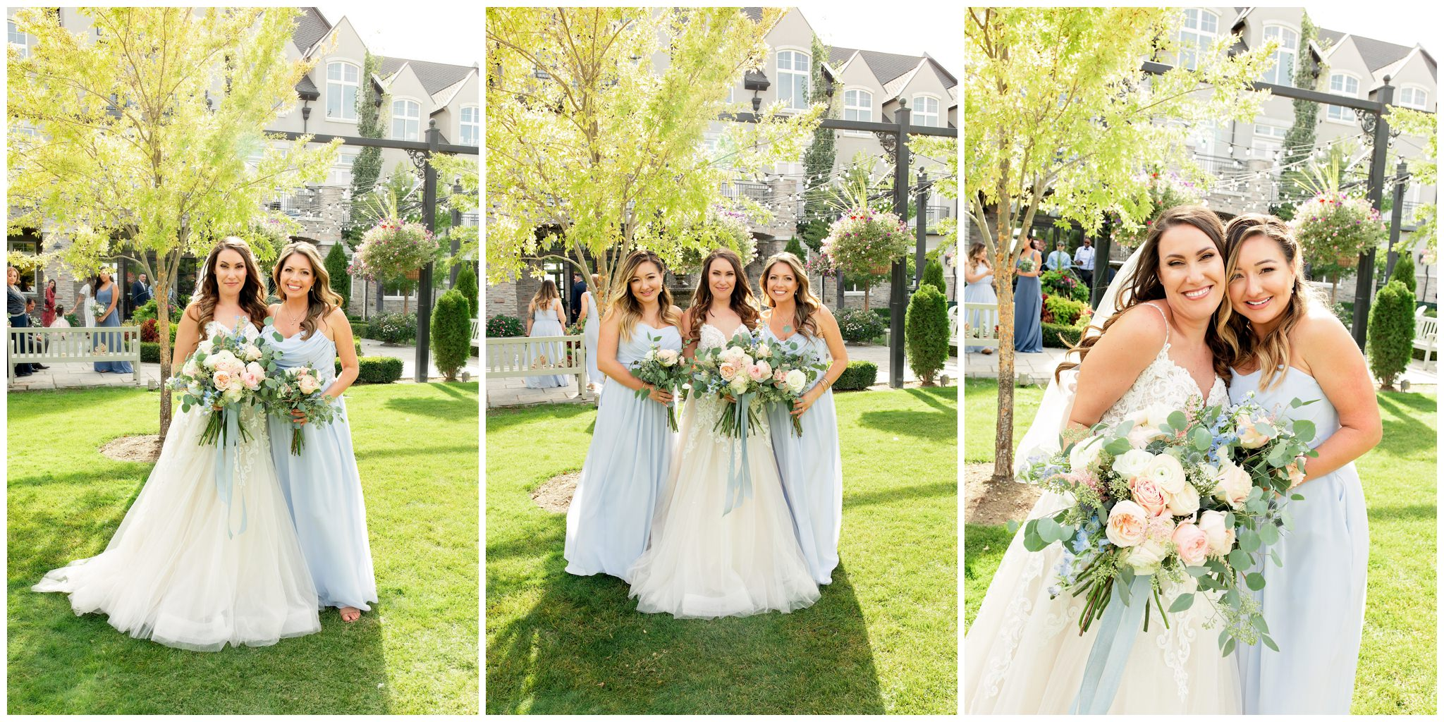 Bride with her bridesmaids who are wearing blue dresses
