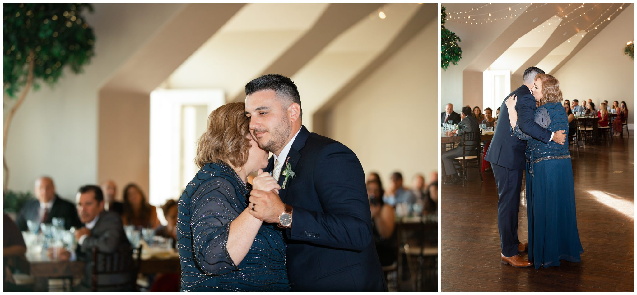 Groom dancing with his mom at Vineyard wedding Venue