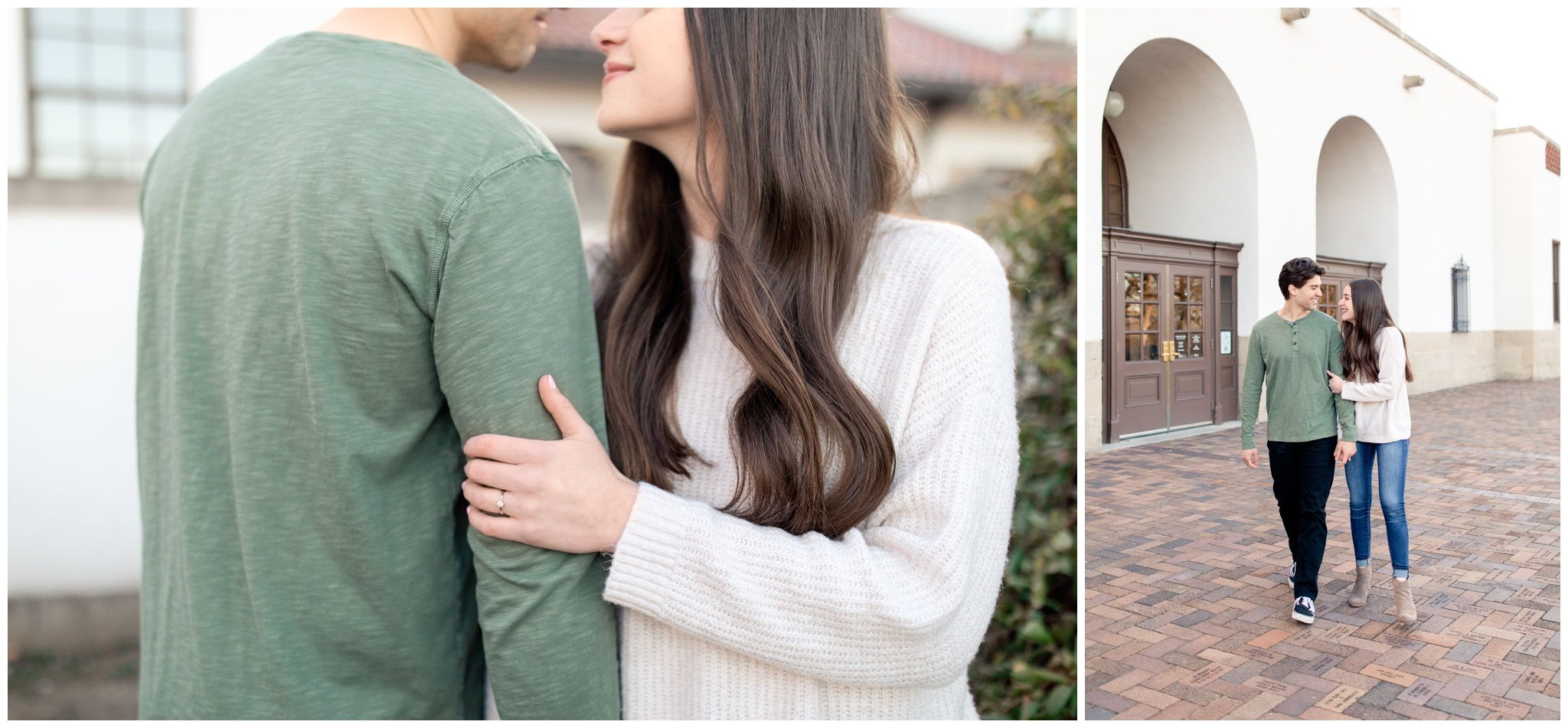Winter Engagement session of couple at the Boise Train depot in Idaho