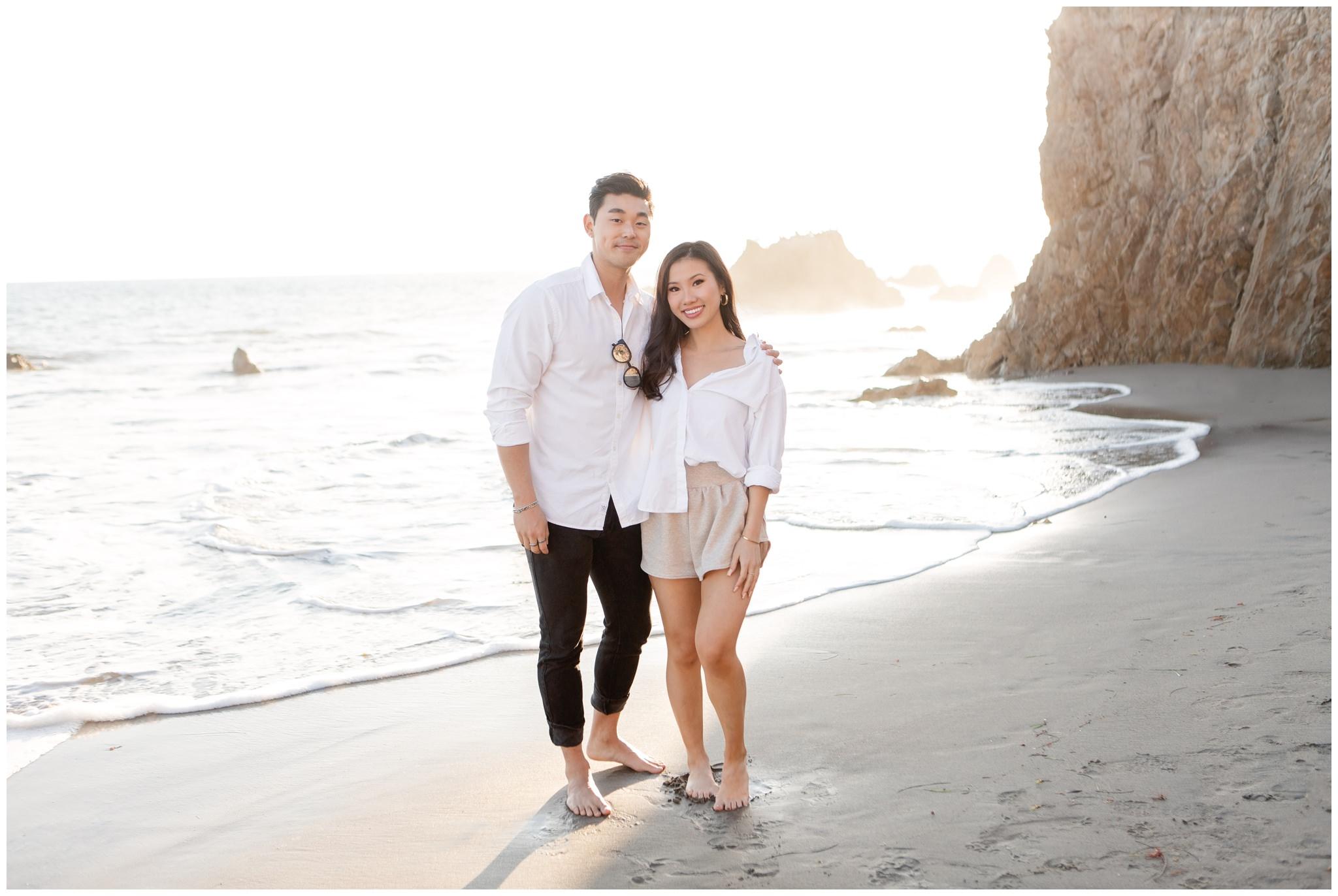 California engagement session on Malibu beach.