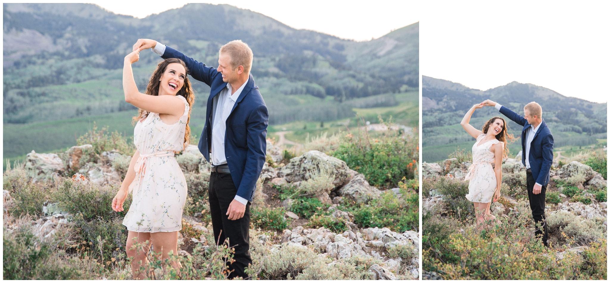 Groom spinning bride in Park City Utah Wedding
