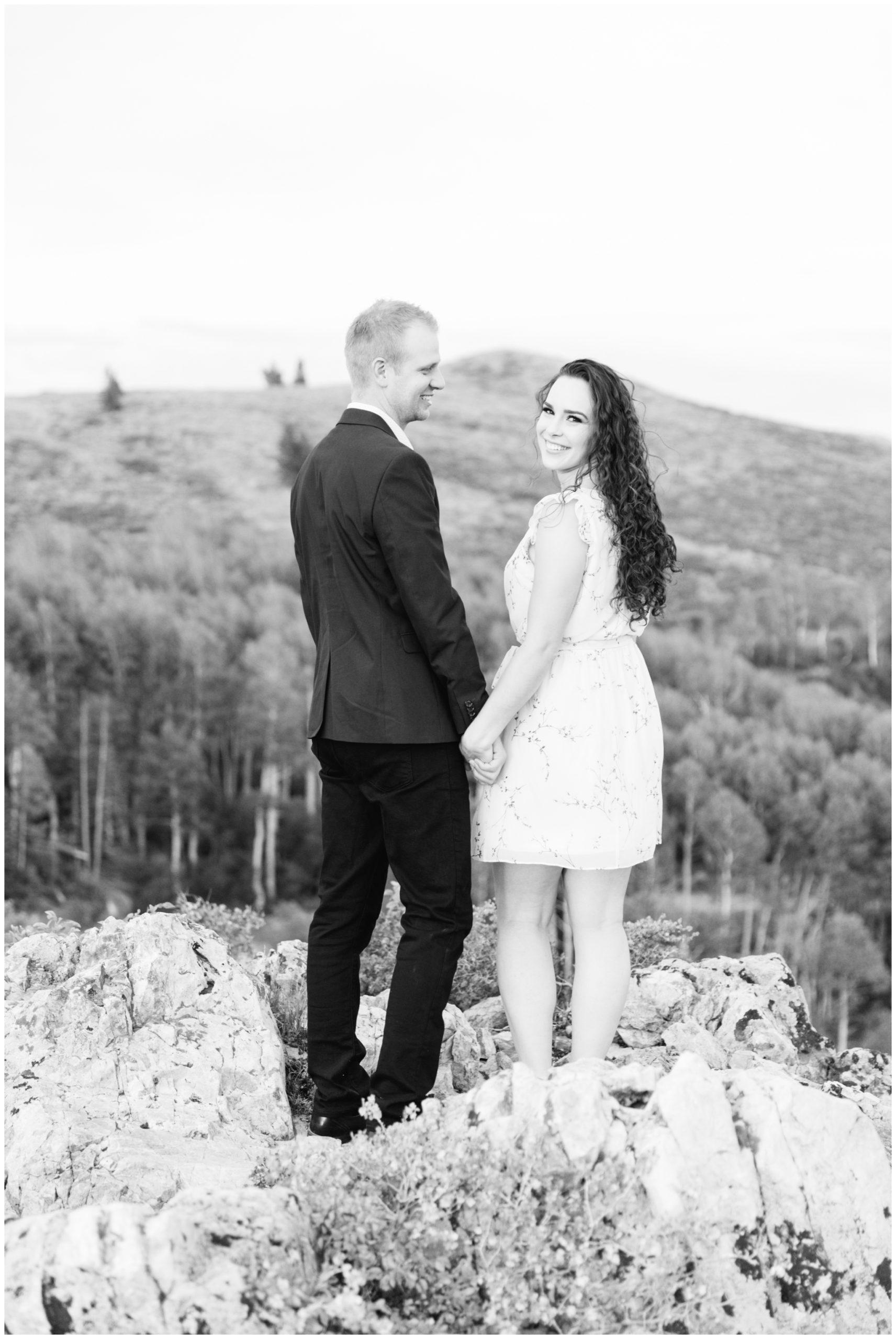 Engagement photos being taken in Park City Utah Mountains