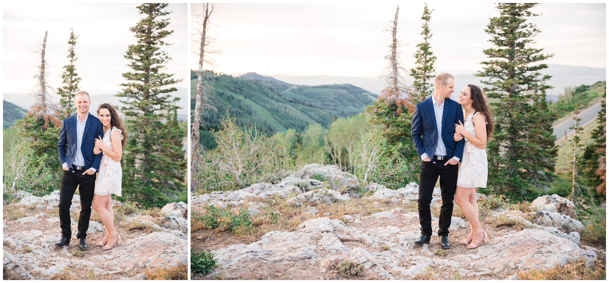 Park City Engagements near the pine trees and mountainside