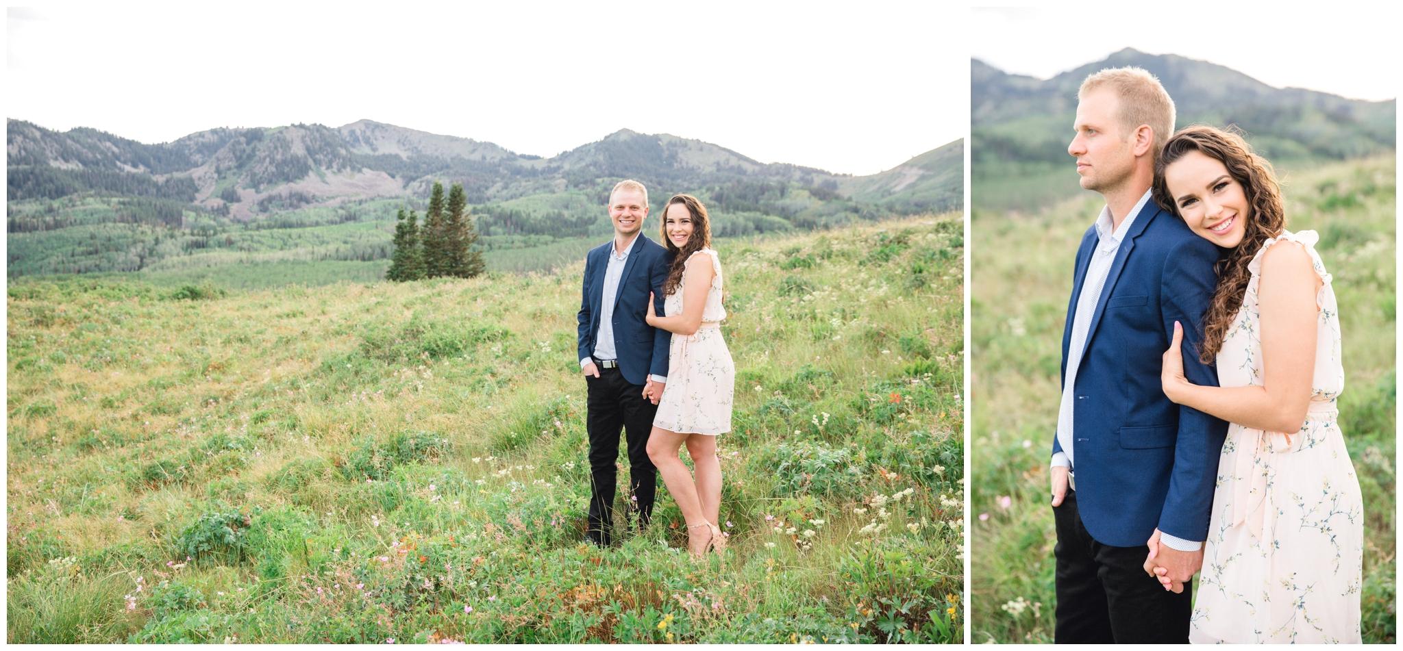 Couple smiling at camera in Park City Utah