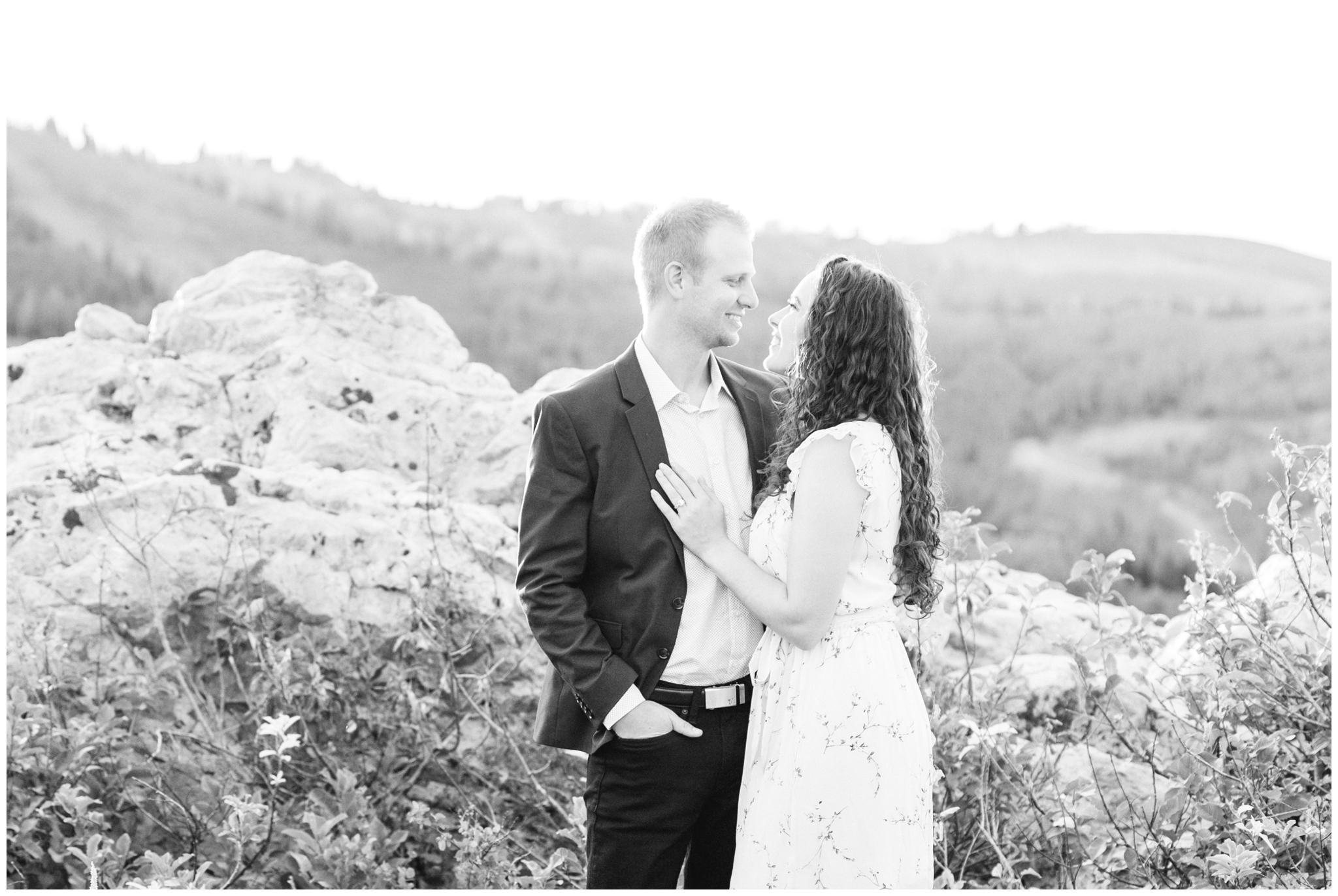 Bride and Groom smiling at each other in Park City Utah