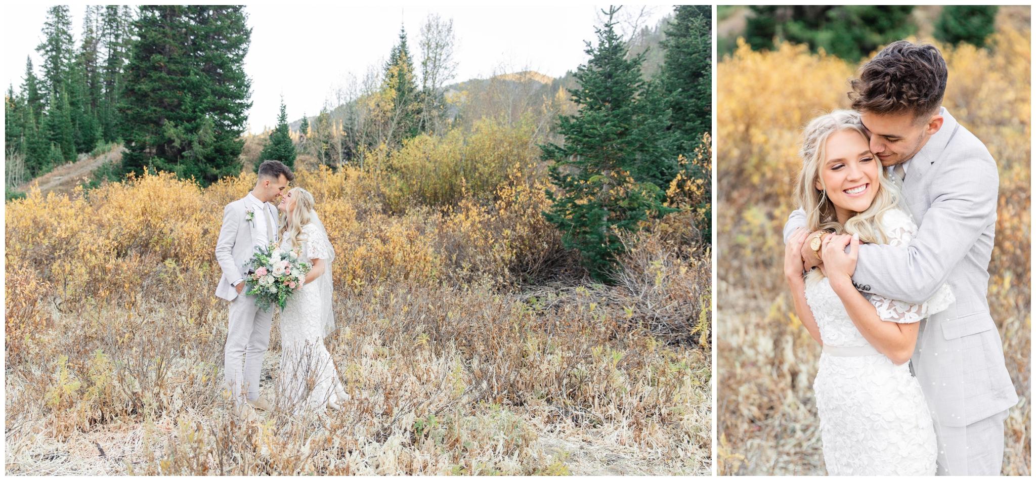 Bride and groom posing for pictures in utah