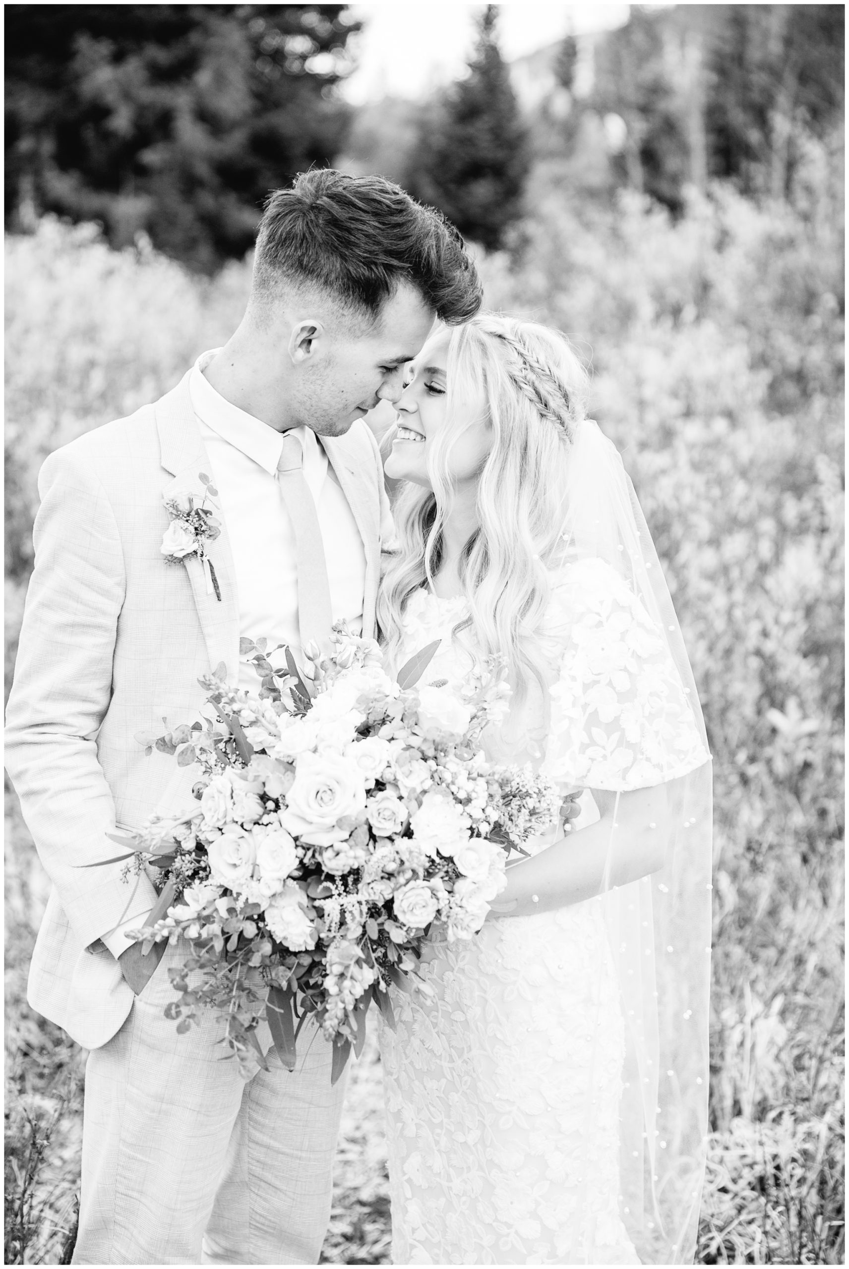 Bride and groom about to kiss on their wedding day