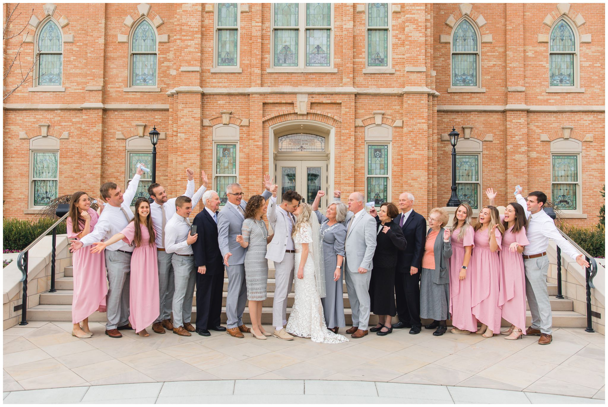 Wedding group picture in front of the Provo City Center Temple