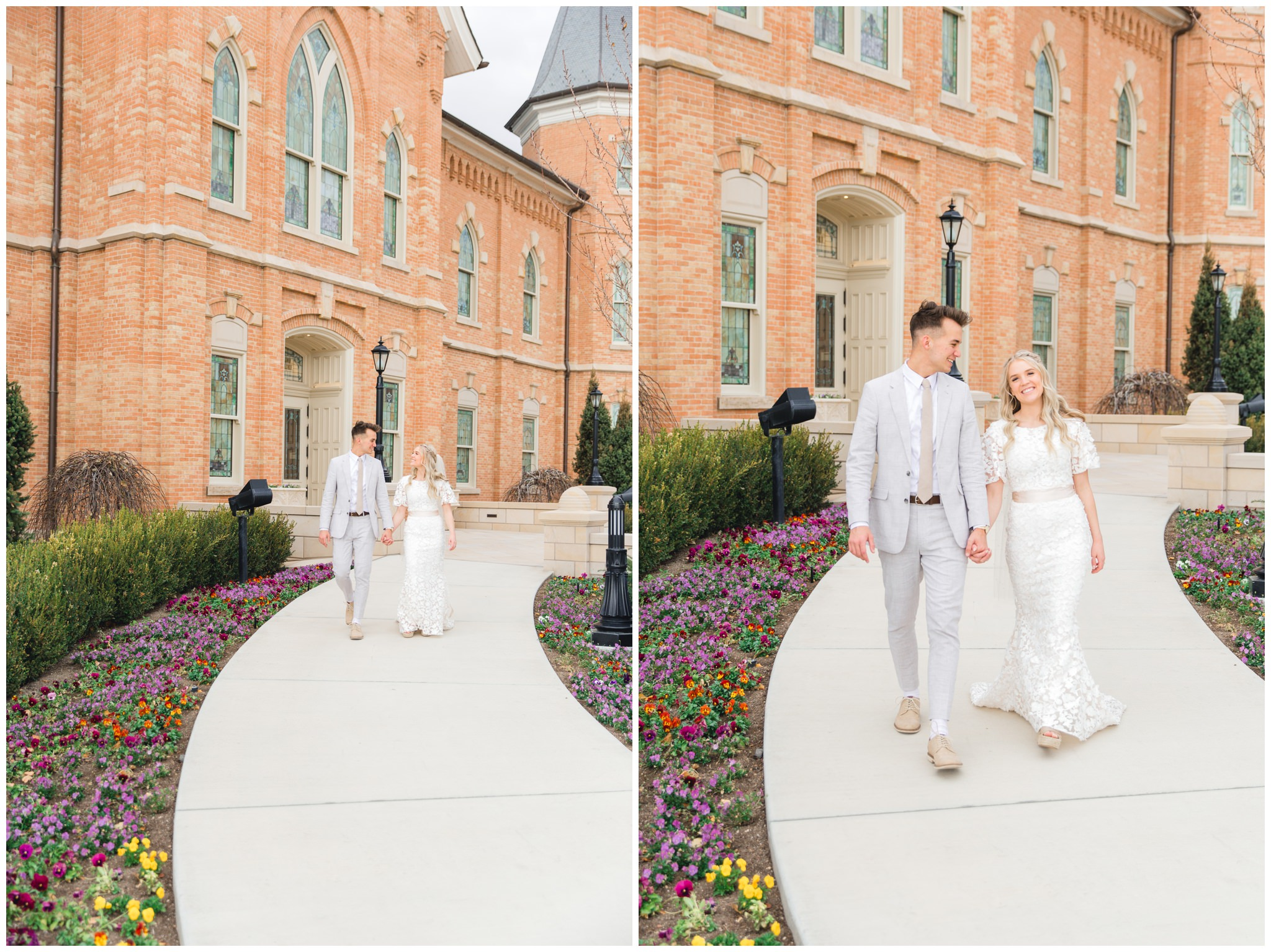 Bride and Groom walking around the Provo City Center Temple on their wedding day.