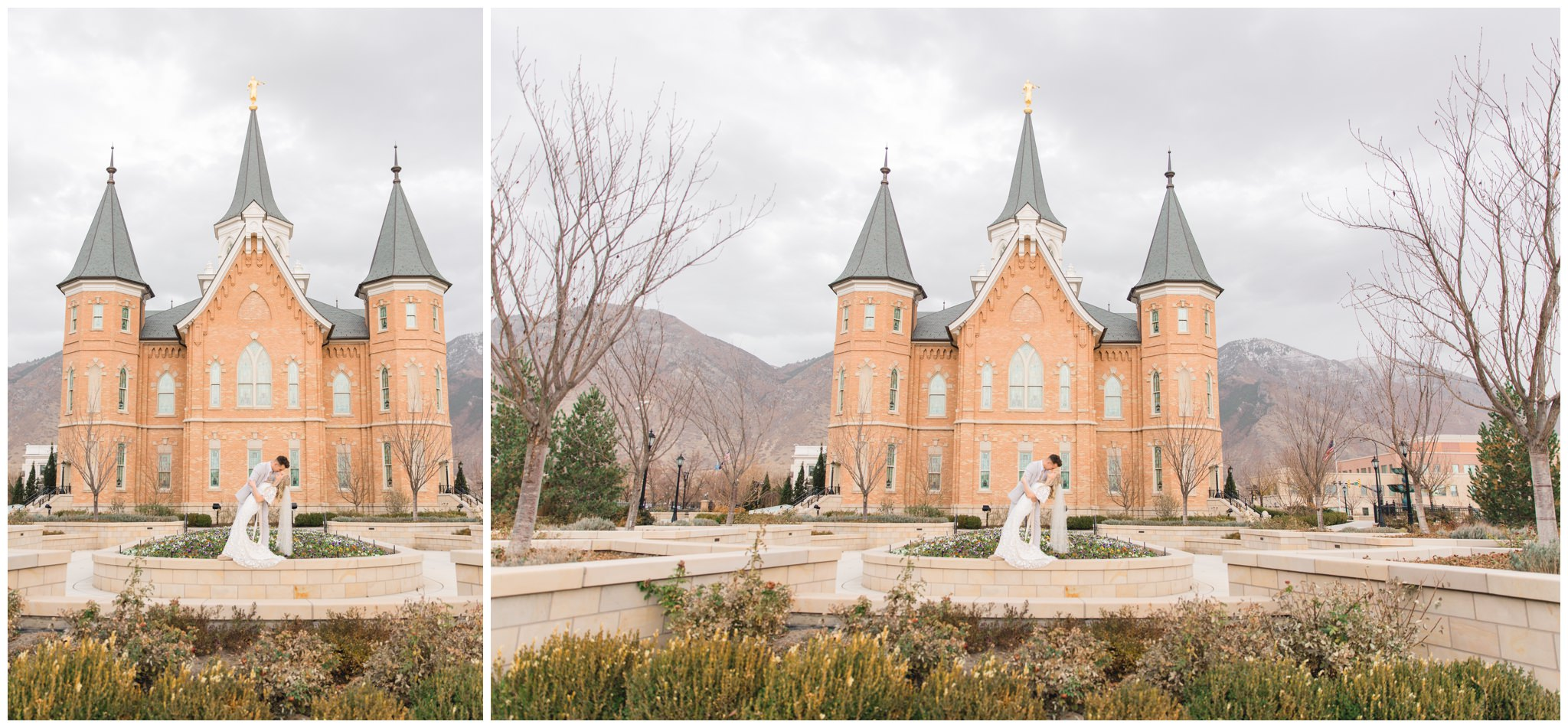 Beautiful image of the provo city center temple in Utah of a Bride and Groom